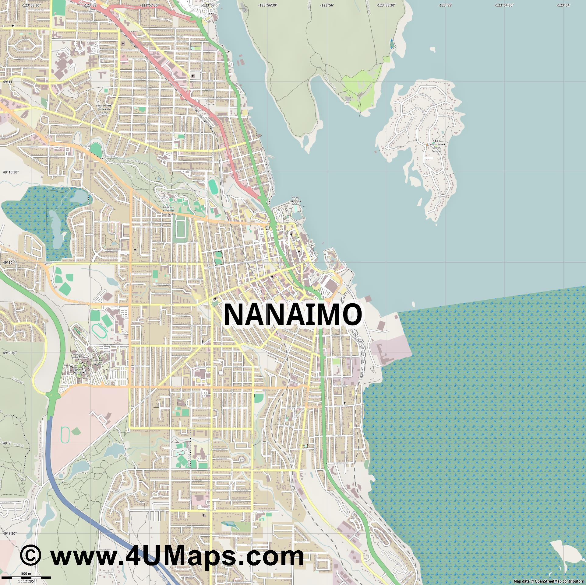 Nanaimo  jpg ultra high detail preview vector city map