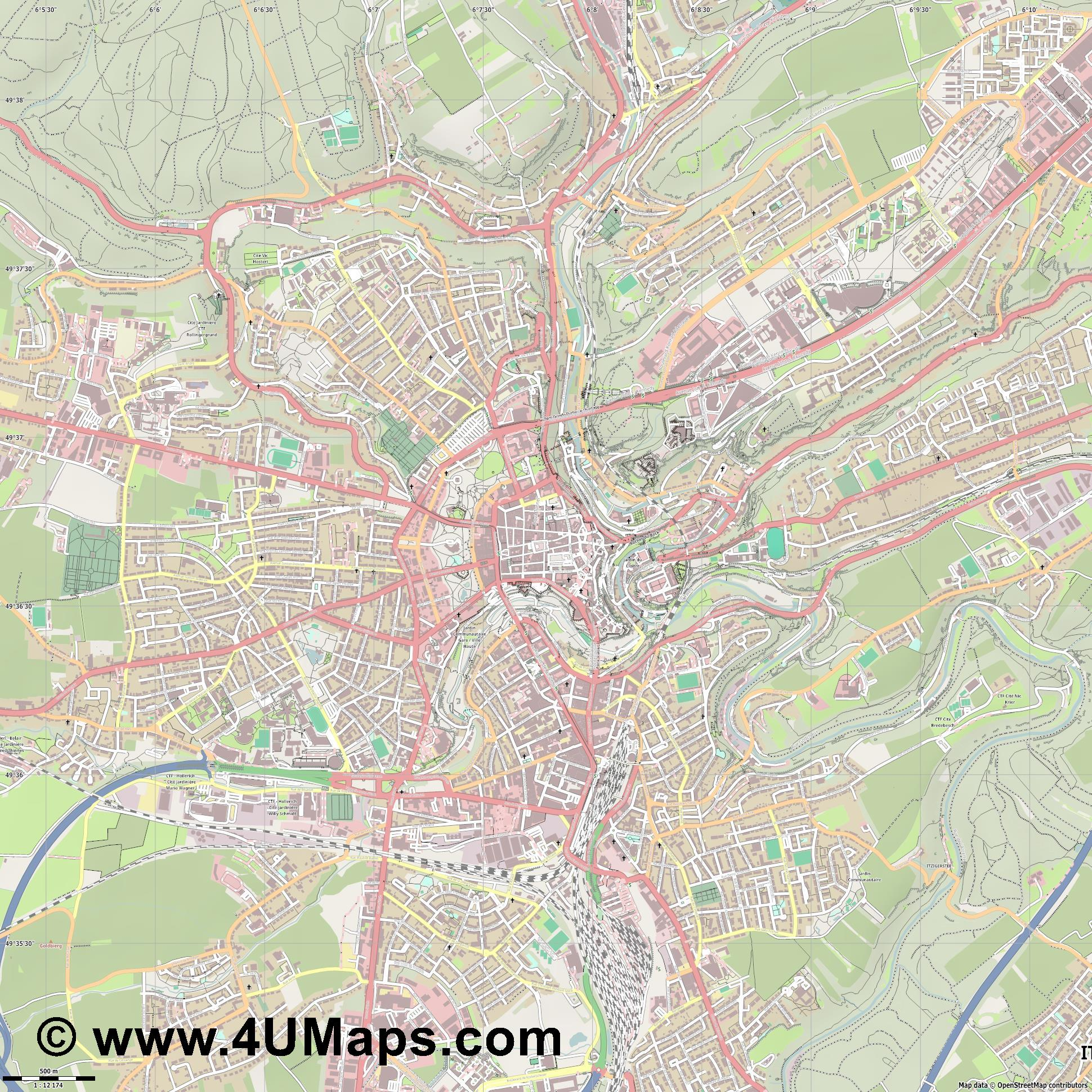 Luxembourg Luxemburgo Lussemburgo  jpg ultra high detail preview vector city map
