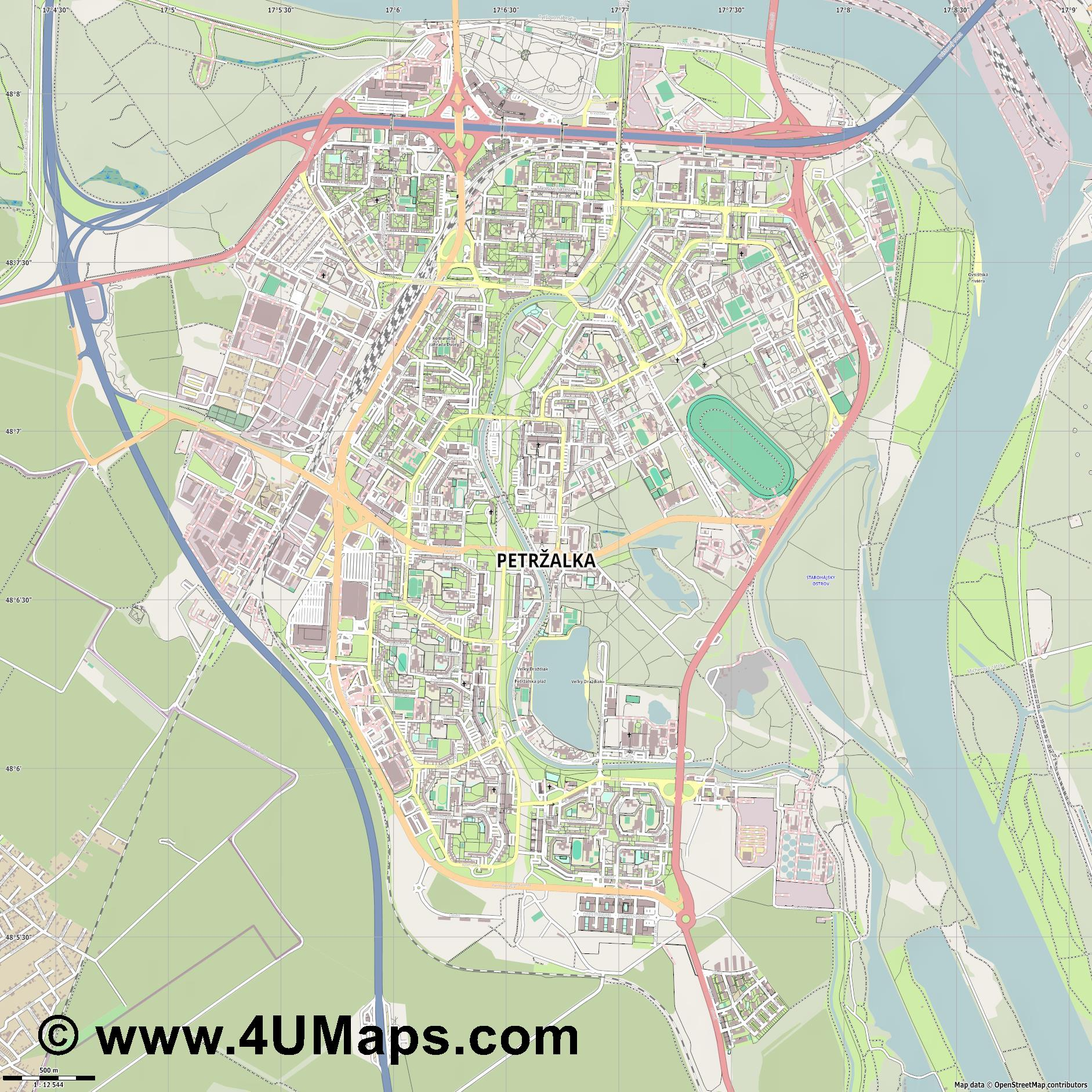 Petržalka Engerau  jpg ultra high detail preview vector city map