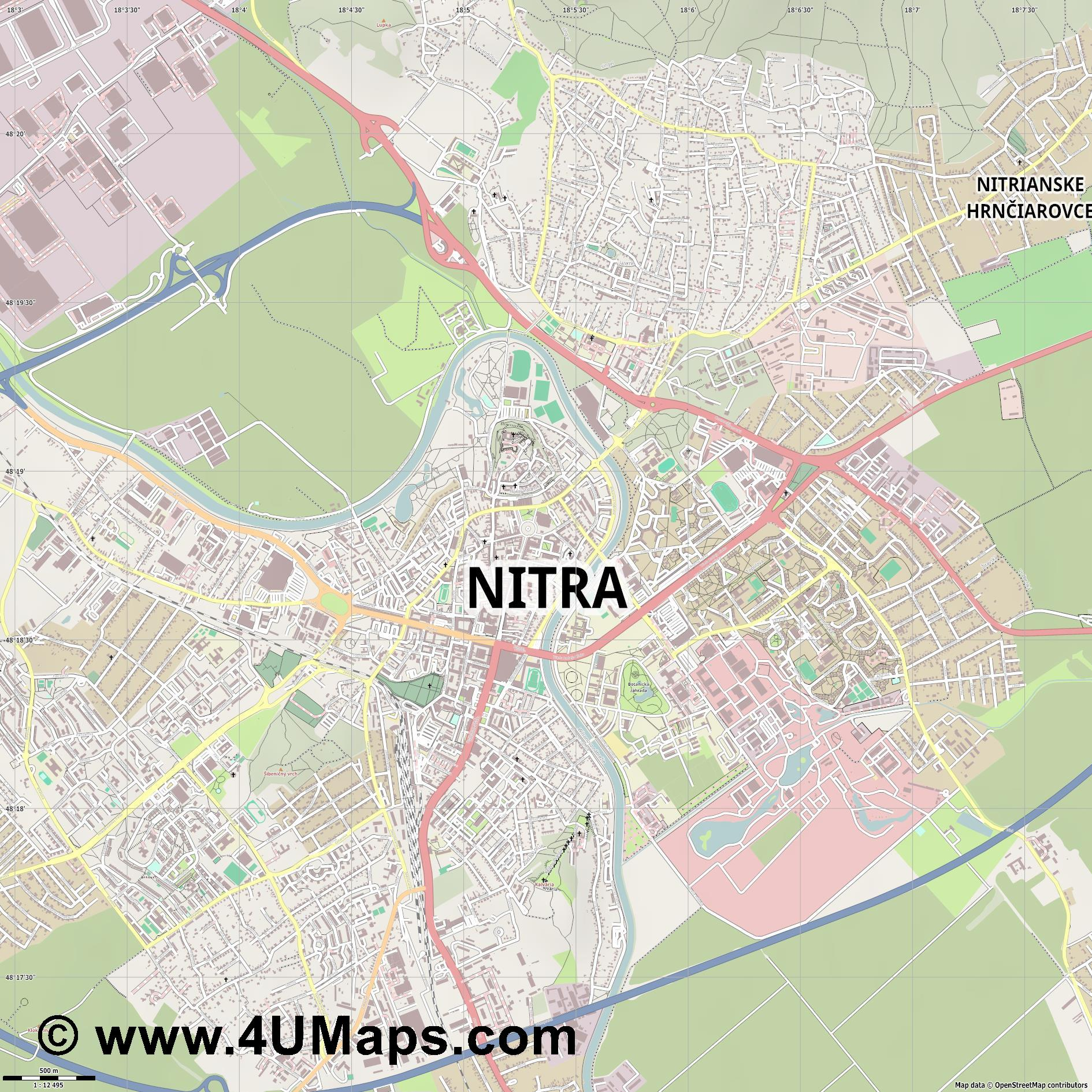 Nitra Neutra  jpg ultra high detail preview vector city map