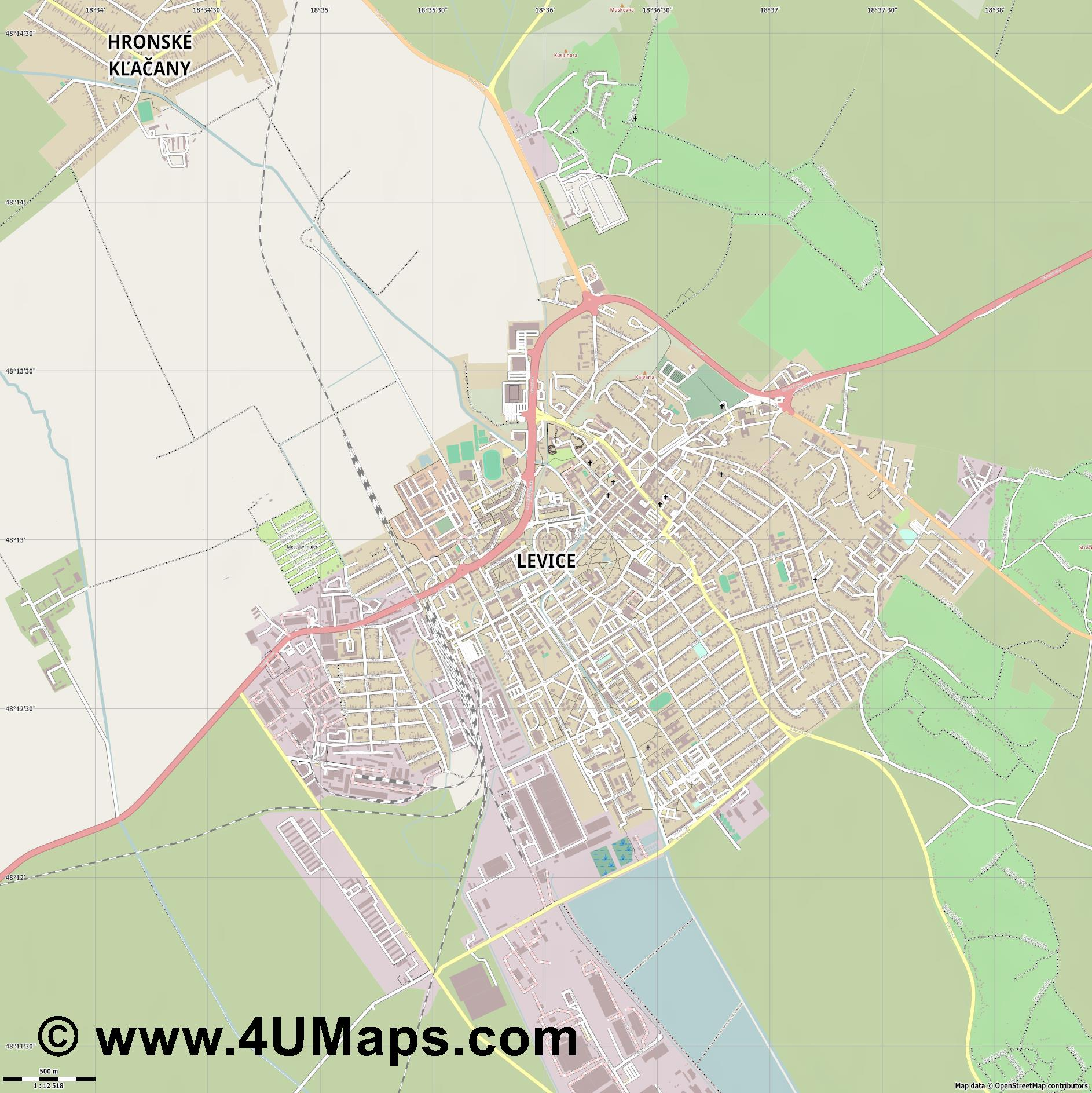 Levice Lewenz  jpg ultra high detail preview vector city map