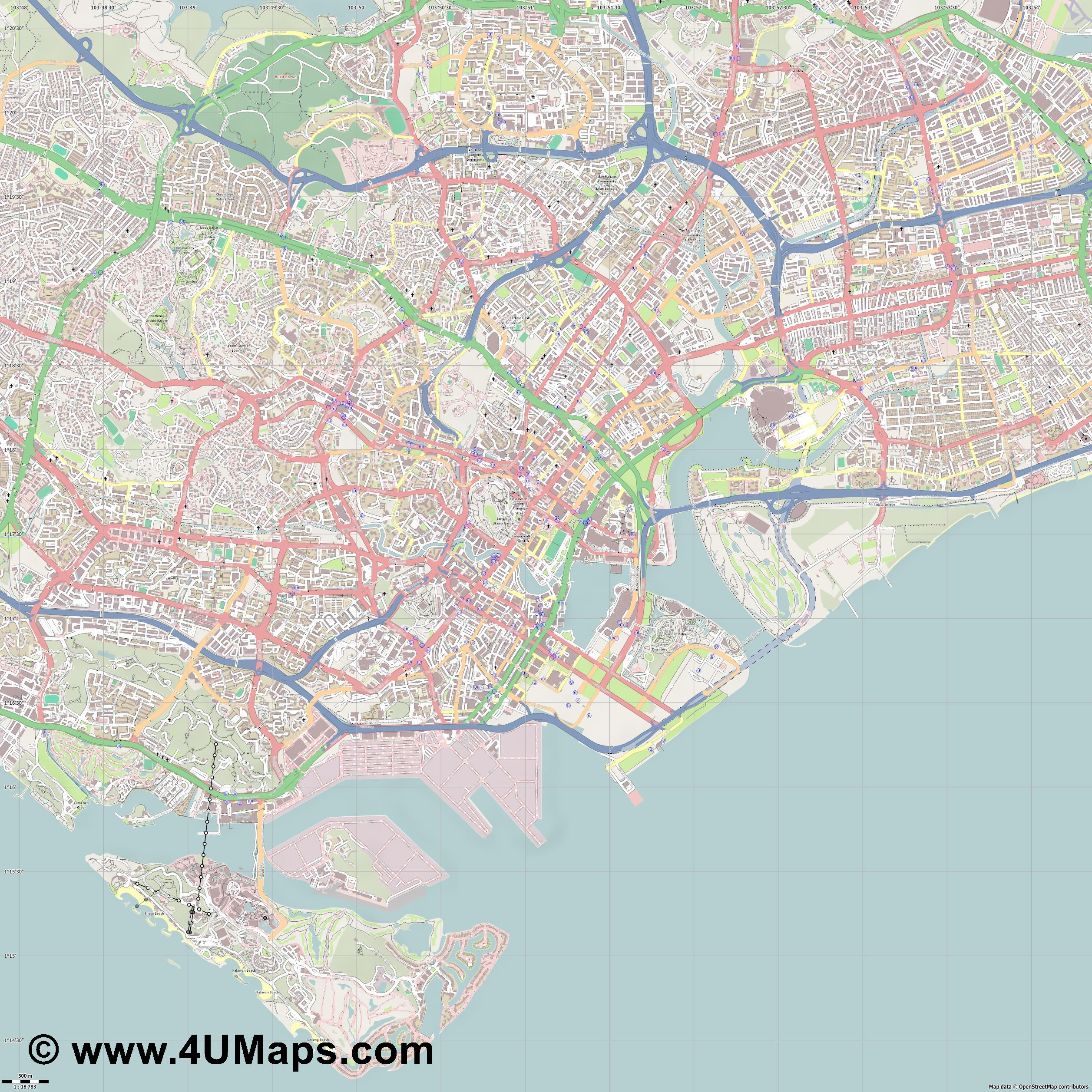 Singapore Singapur Singapour  jpg ultra high detail preview vector city map