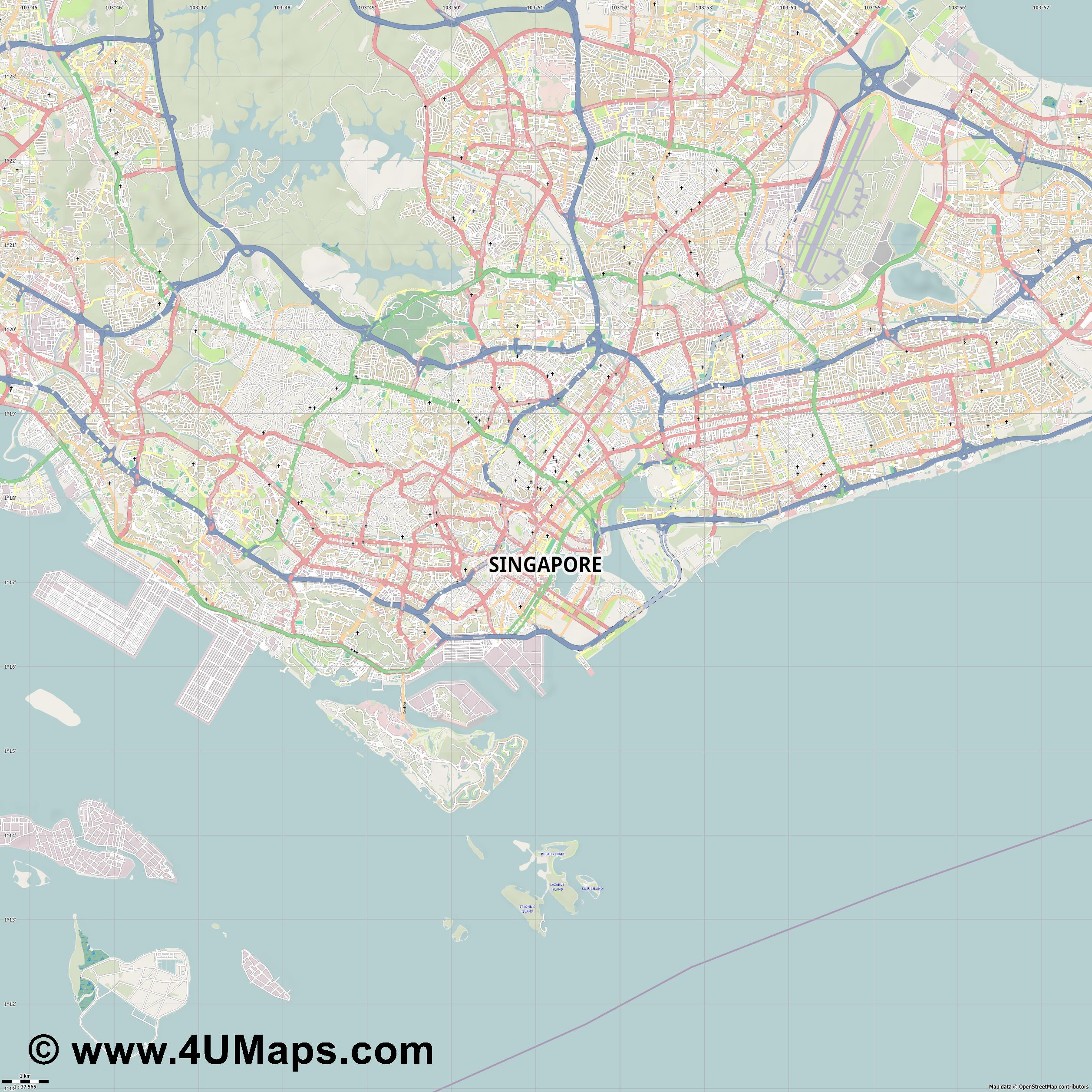 Singapore Singapur Singapour  jpg high detail, large area preview vector city map