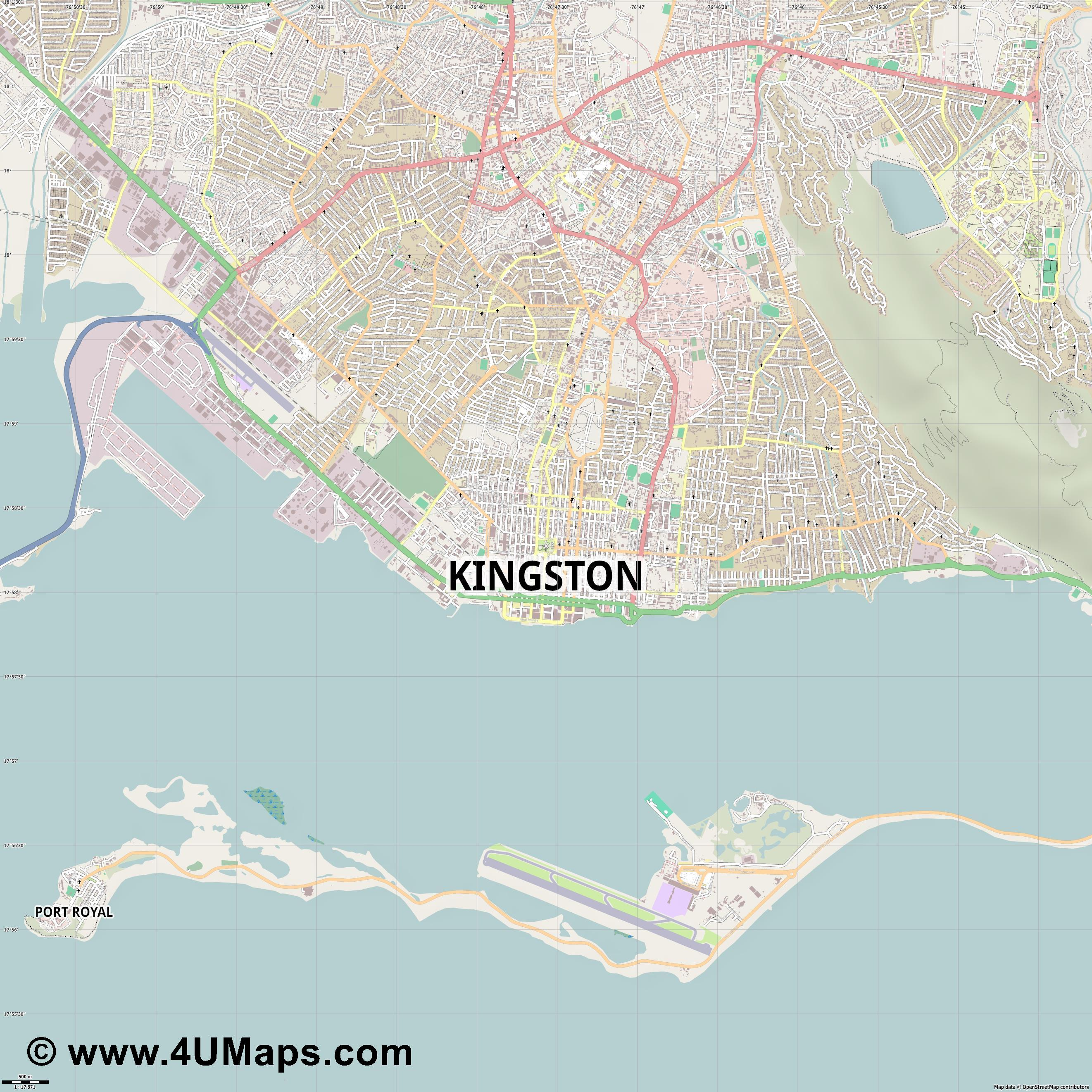 Kingston  jpg ultra high detail preview vector city map