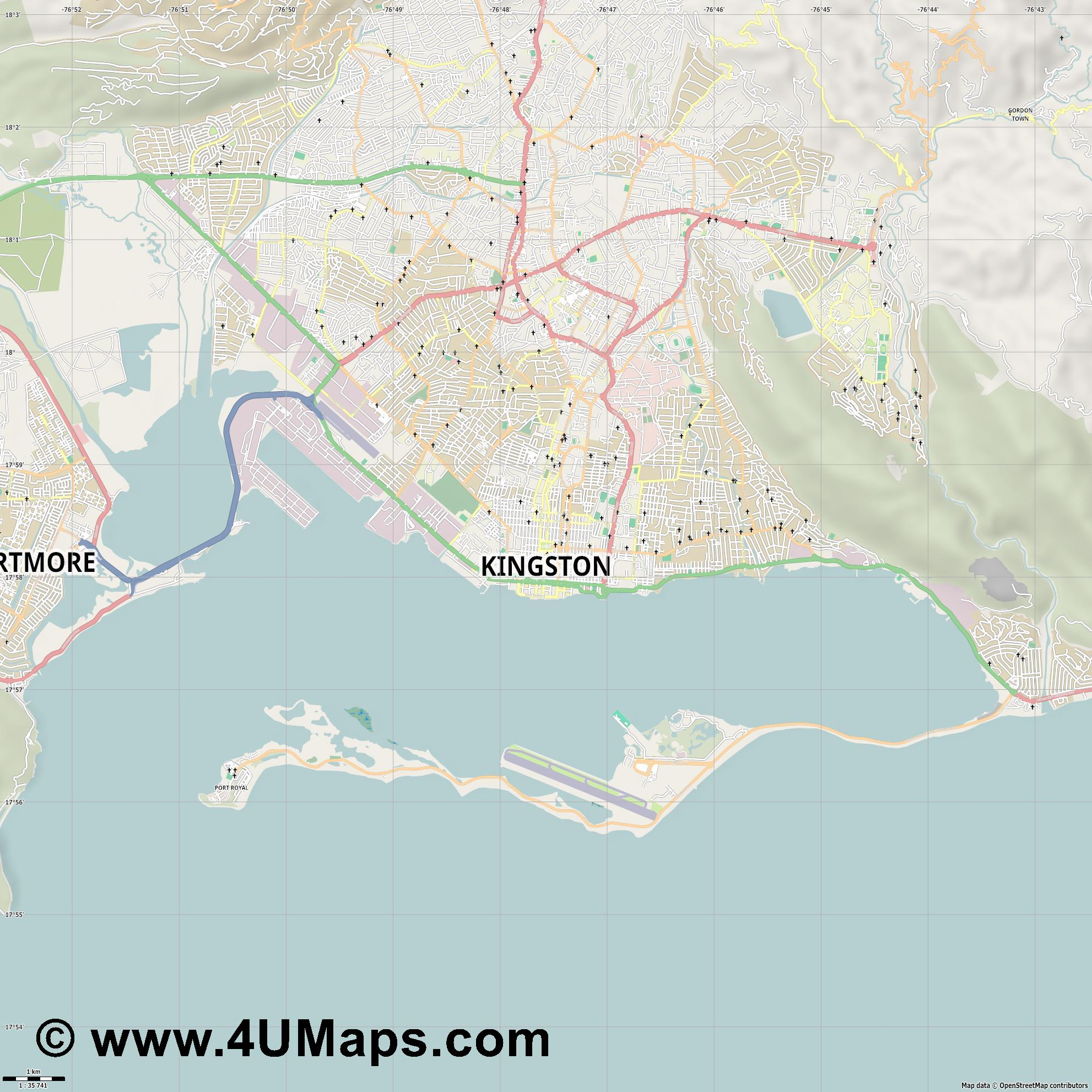 Kingston  jpg high detail, large area preview vector city map