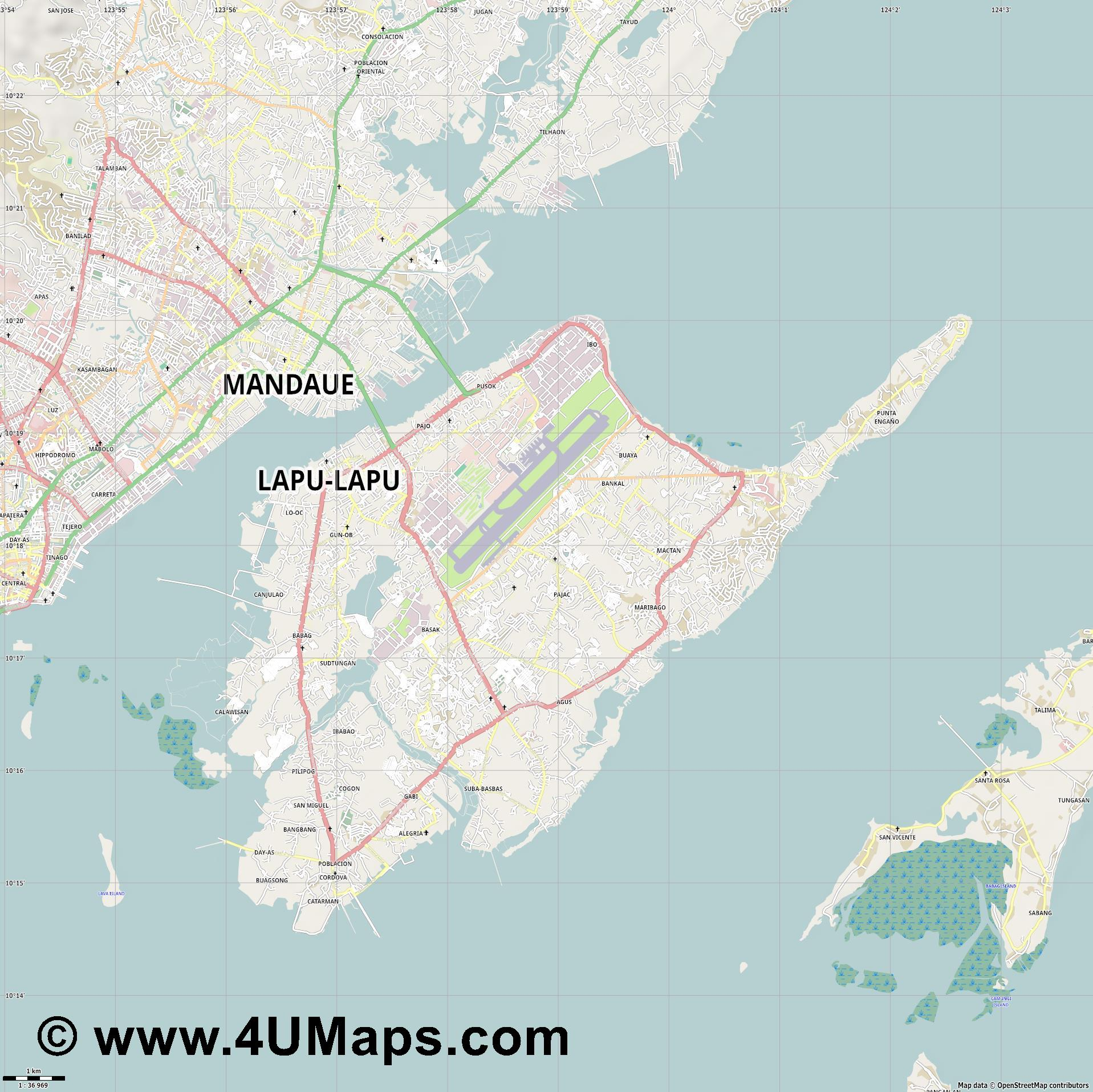 Lapu Lapu City  jpg high detail, large area preview vector city map