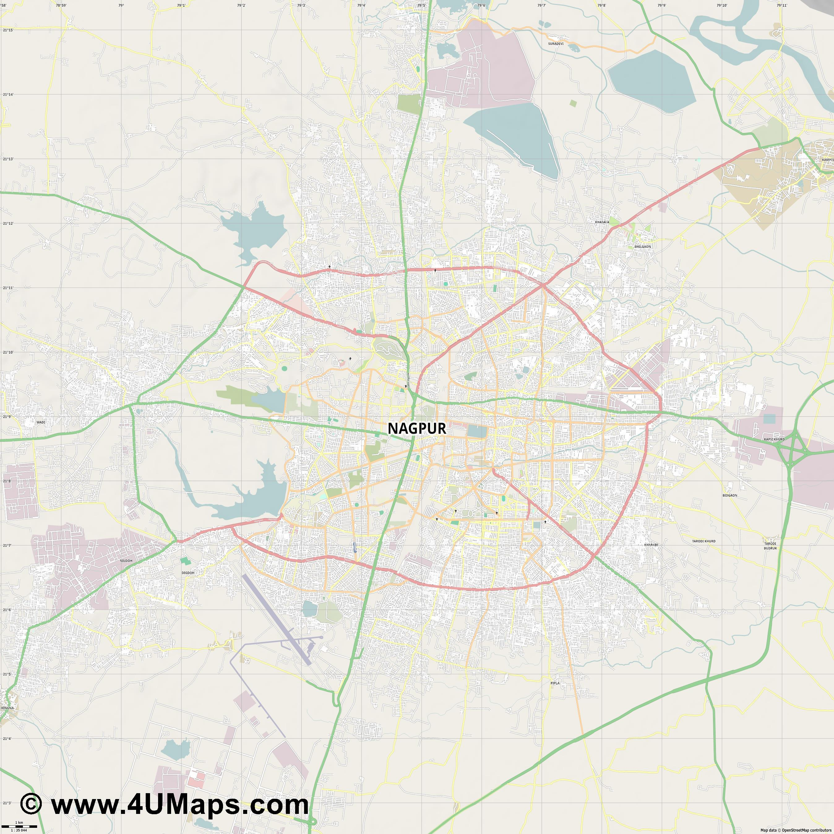 Nagpur  jpg high detail, large area preview vector city map
