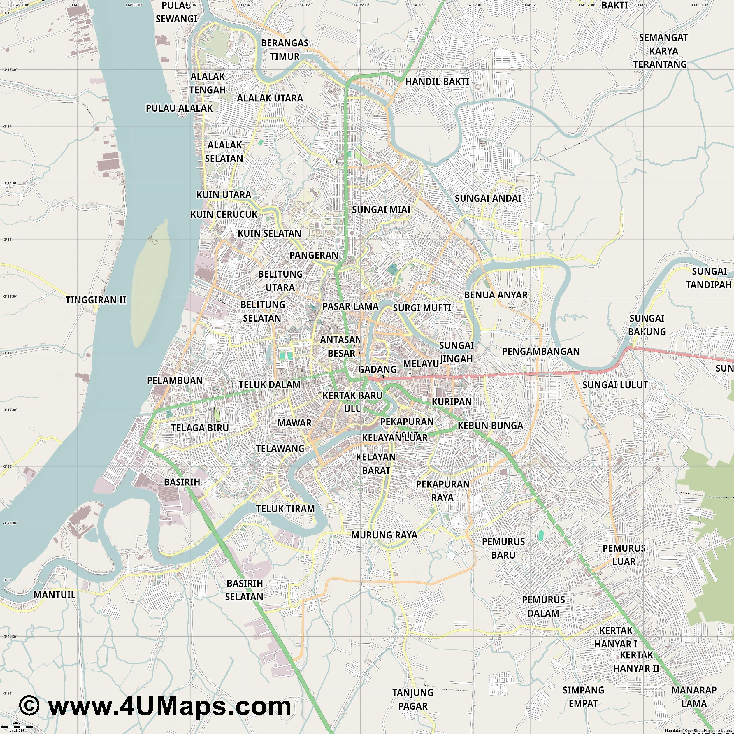 Banjarmasin  jpg ultra high detail preview vector city map