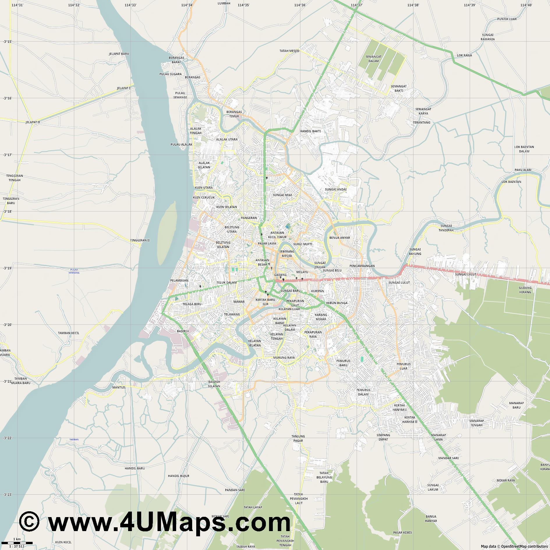 Banjarmasin  jpg high detail, large area preview vector city map