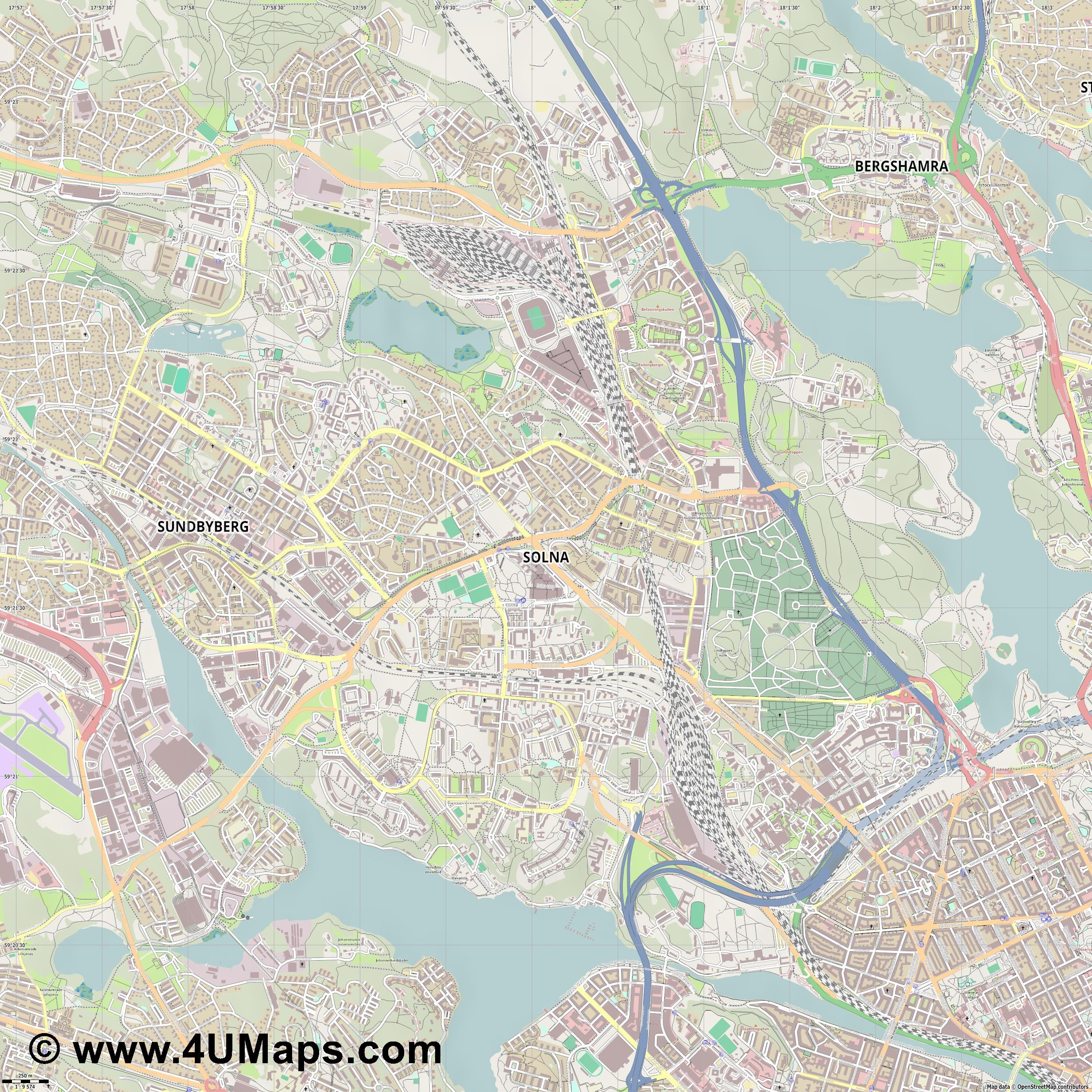 Solna  jpg ultra high detail preview vector city map