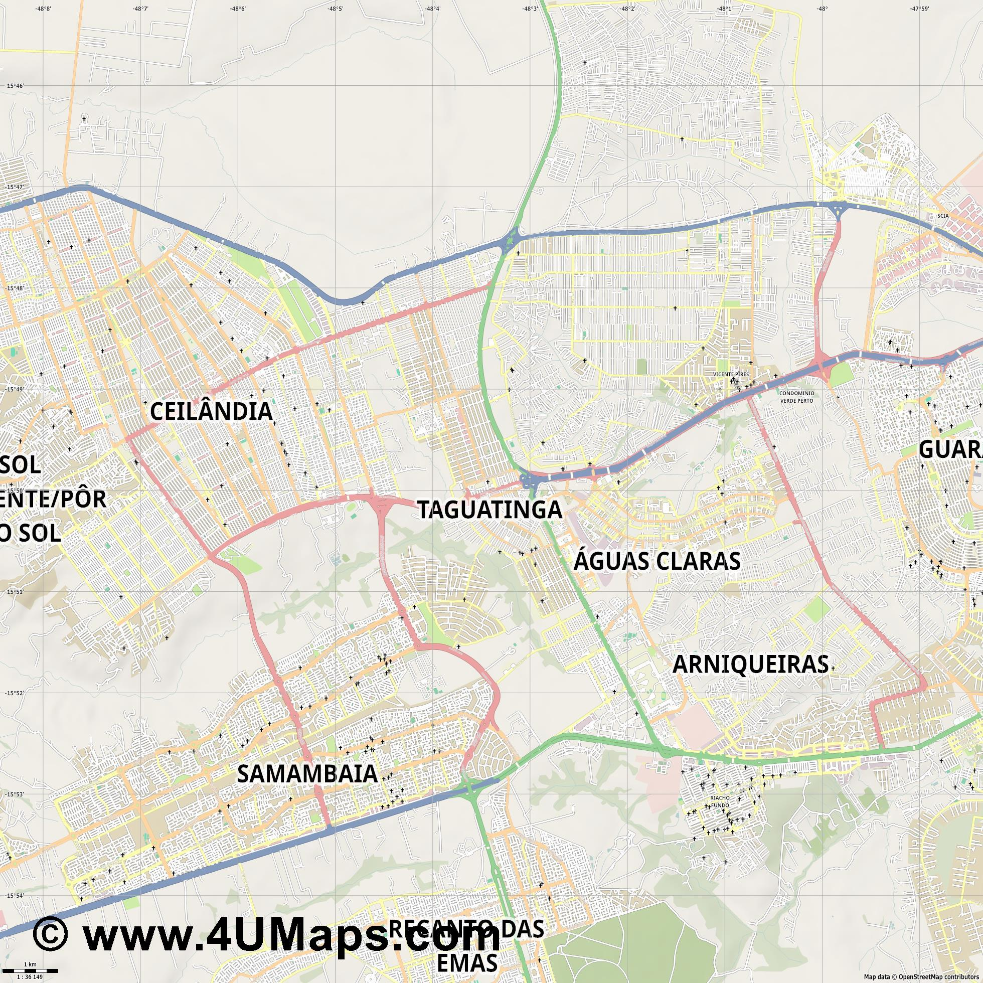 Taguatinga  jpg high detail, large area preview vector city map
