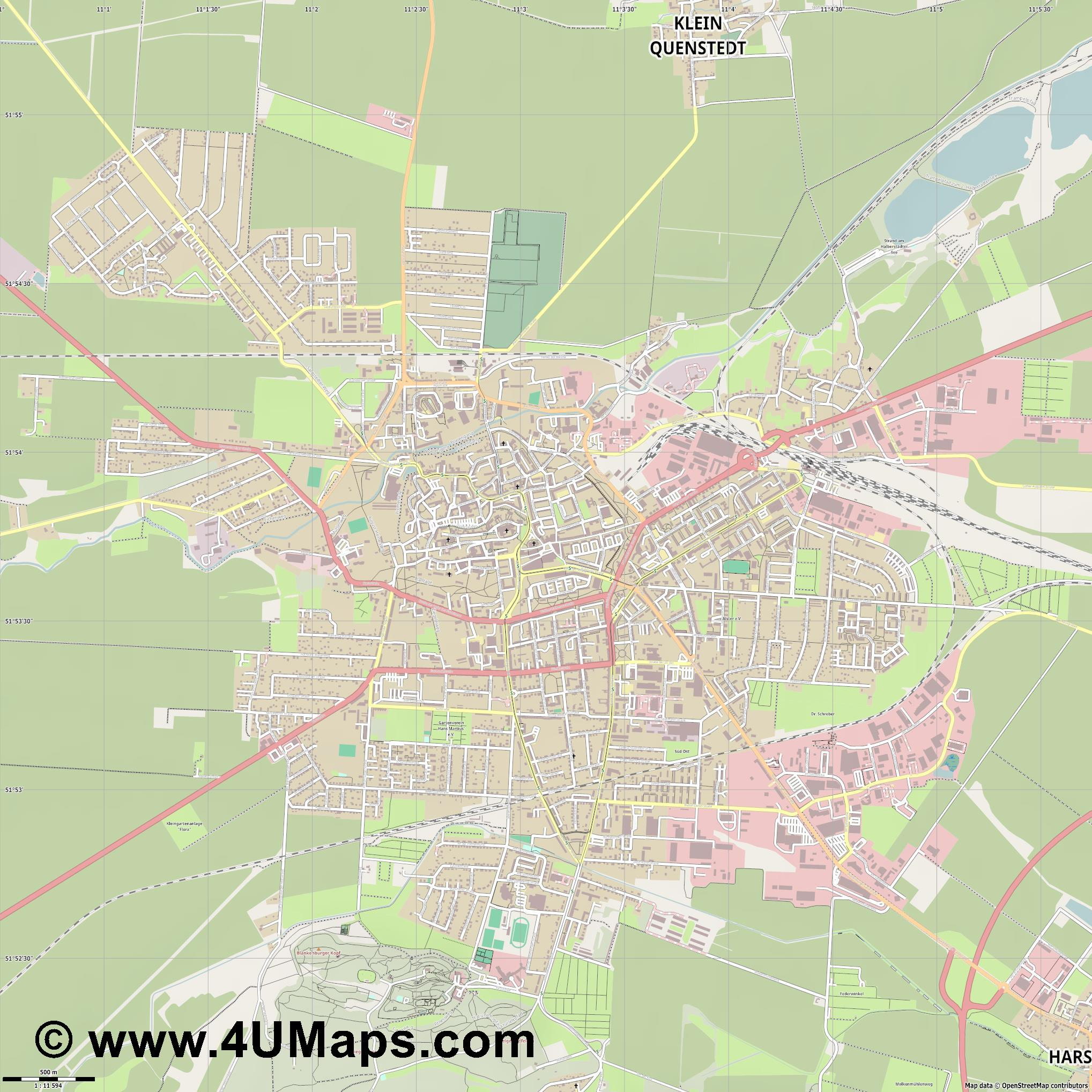 Halberstadt  jpg ultra high detail preview vector city map