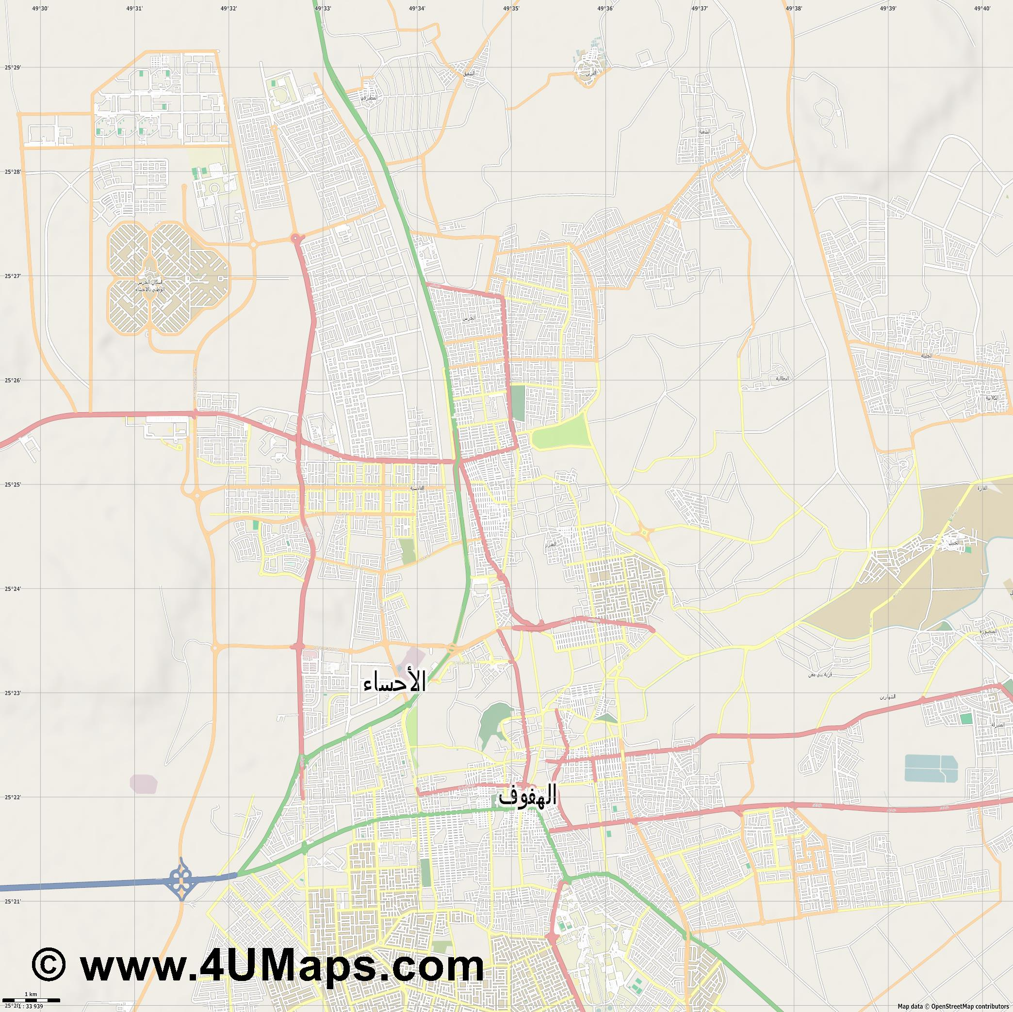 المبرز Mubarraz  jpg high detail, large area preview vector city map