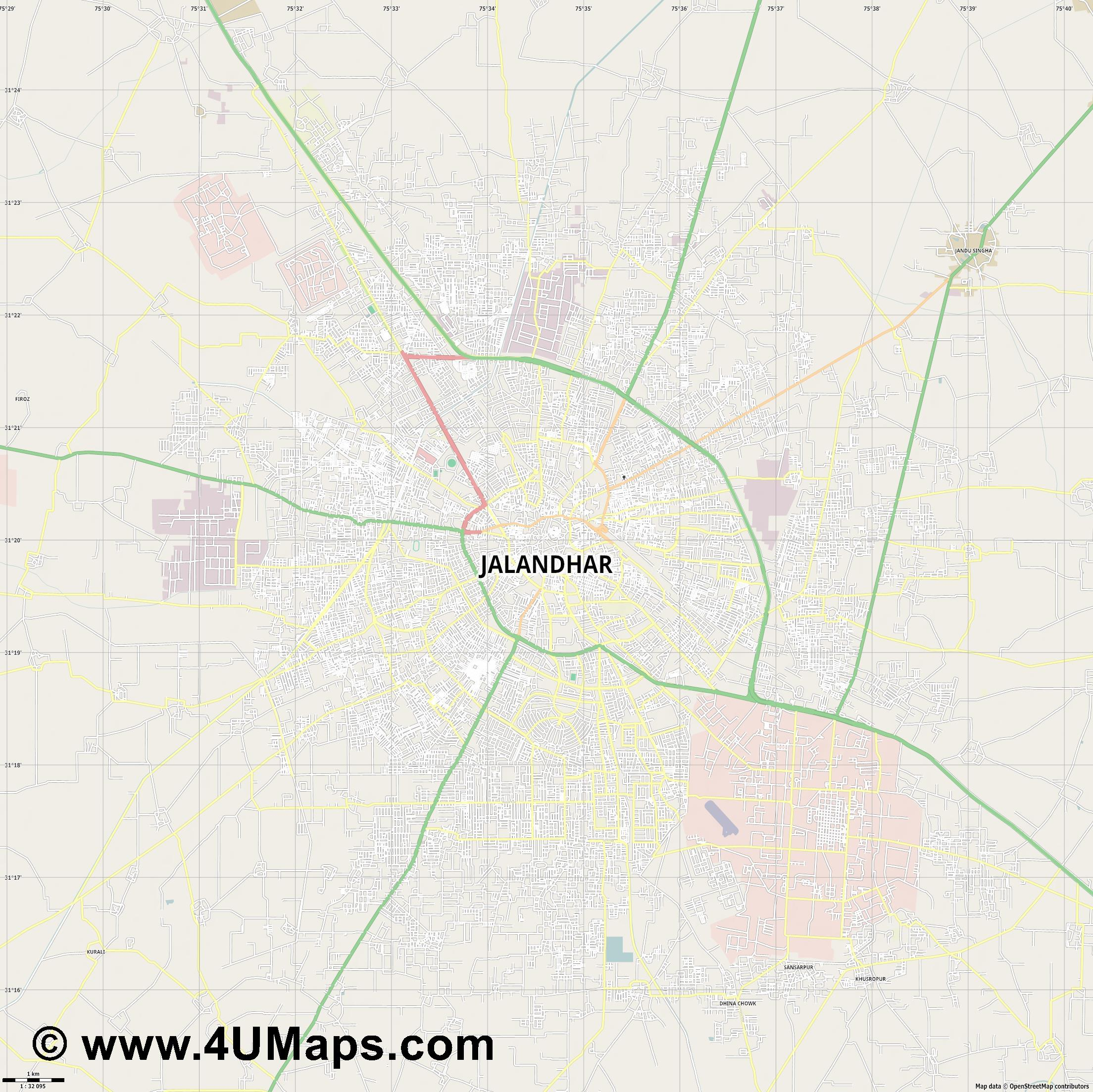 Jalandhar  jpg high detail, large area preview vector city map