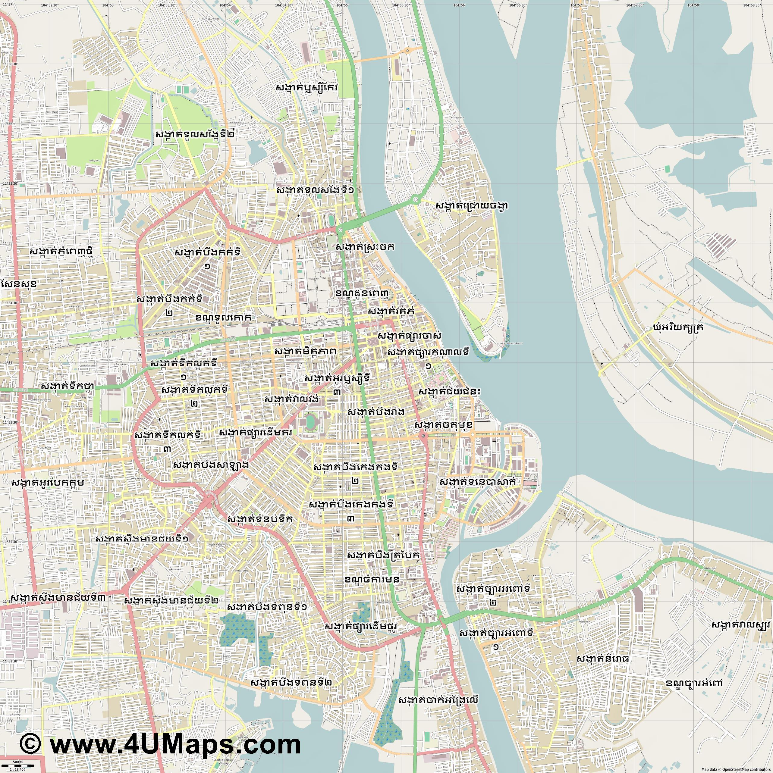 Phnom Penh  jpg ultra high detail preview vector city map