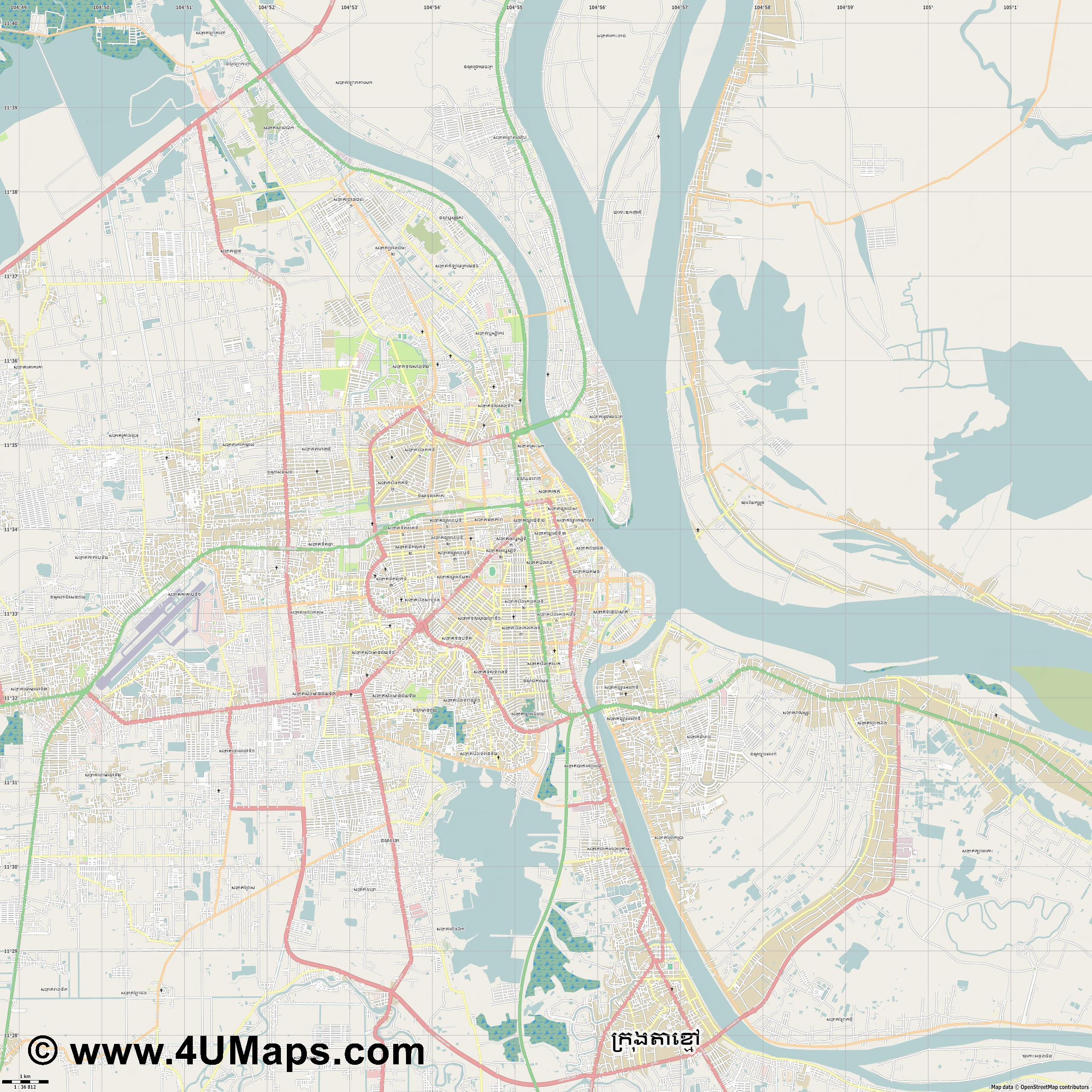 Phnom Penh  jpg high detail, large area preview vector city map