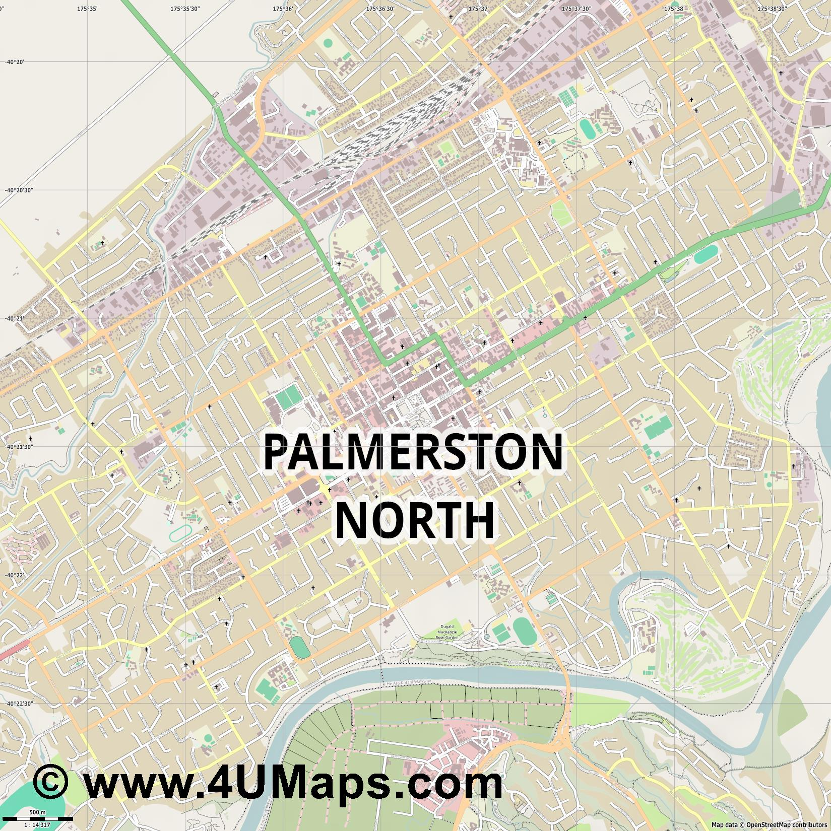 Palmerston North  jpg ultra high detail preview vector city map