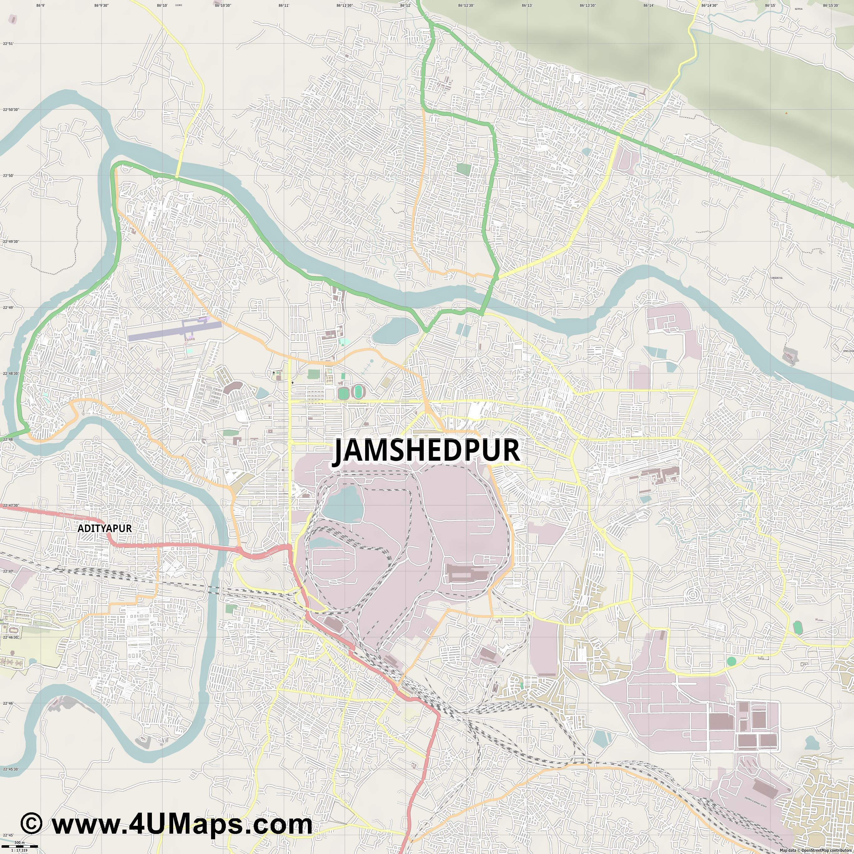 Jamshedpur  jpg ultra high detail preview vector city map