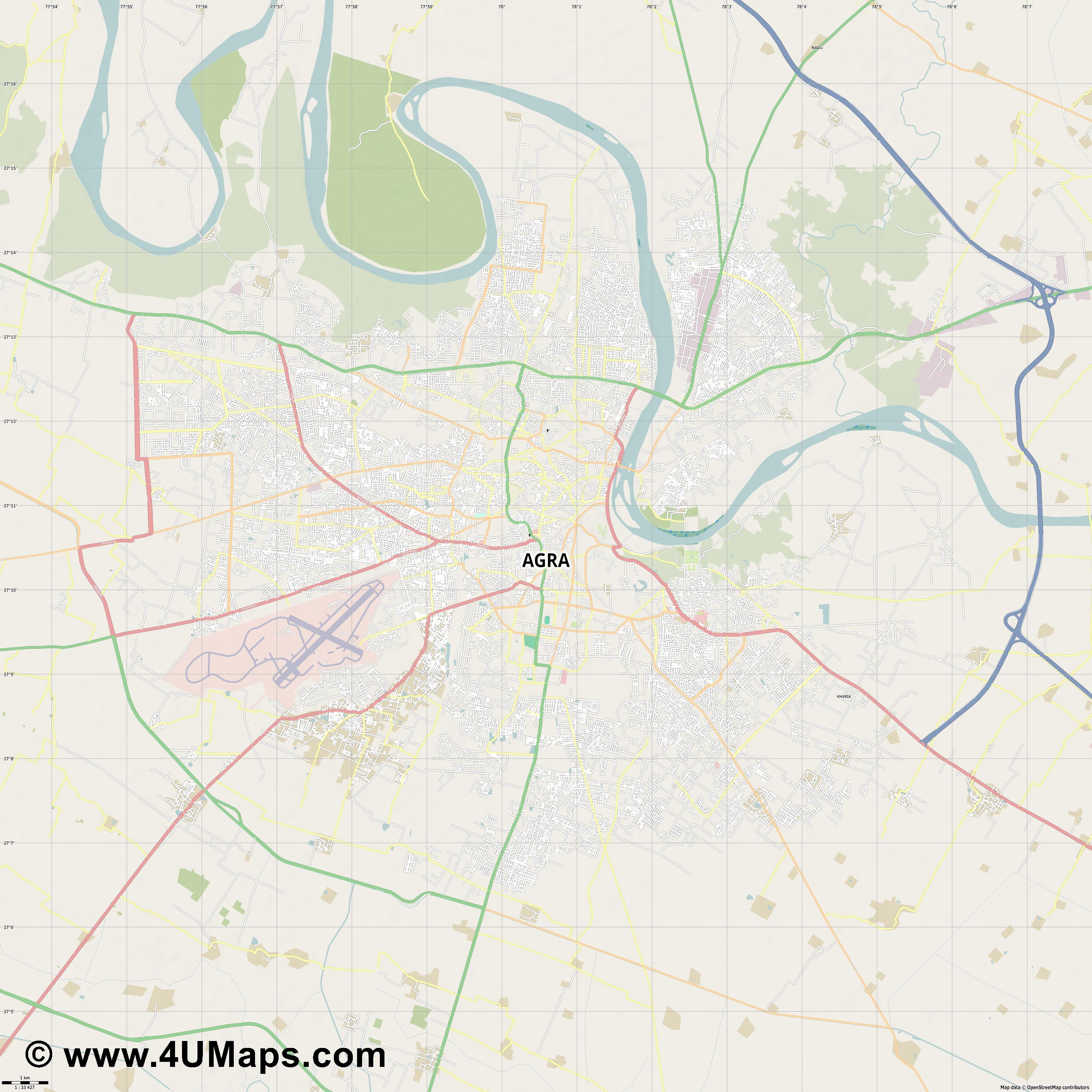 Agra  jpg high detail, large area preview vector city map