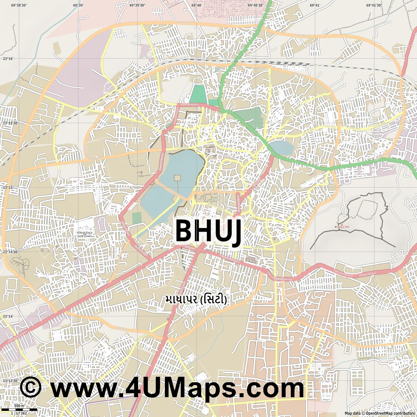 Bhuj  jpg ultra high detail preview vector city map