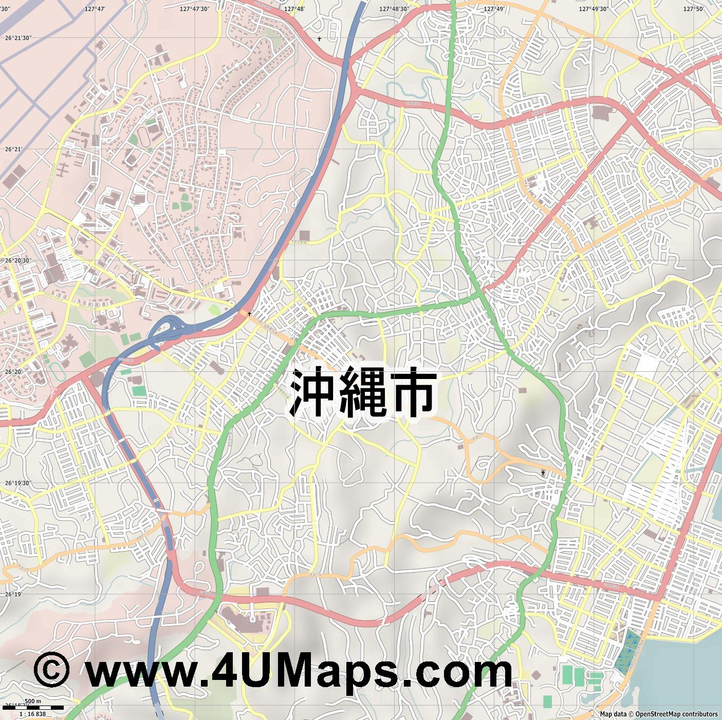 沖縄市  Okinawa   jpg ultra high detail preview vector city map