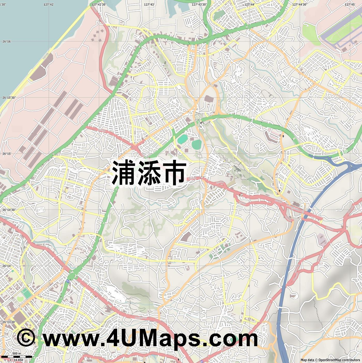 浦添市  Urasoe   jpg ultra high detail preview vector city map