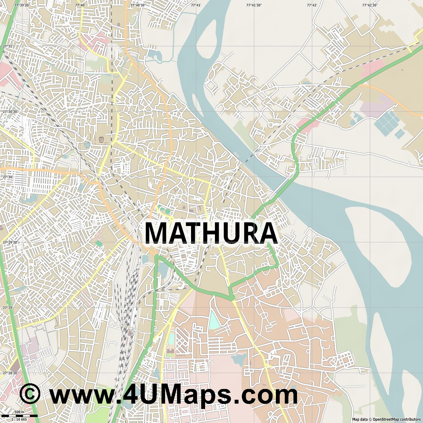Mathura  jpg ultra high detail preview vector city map
