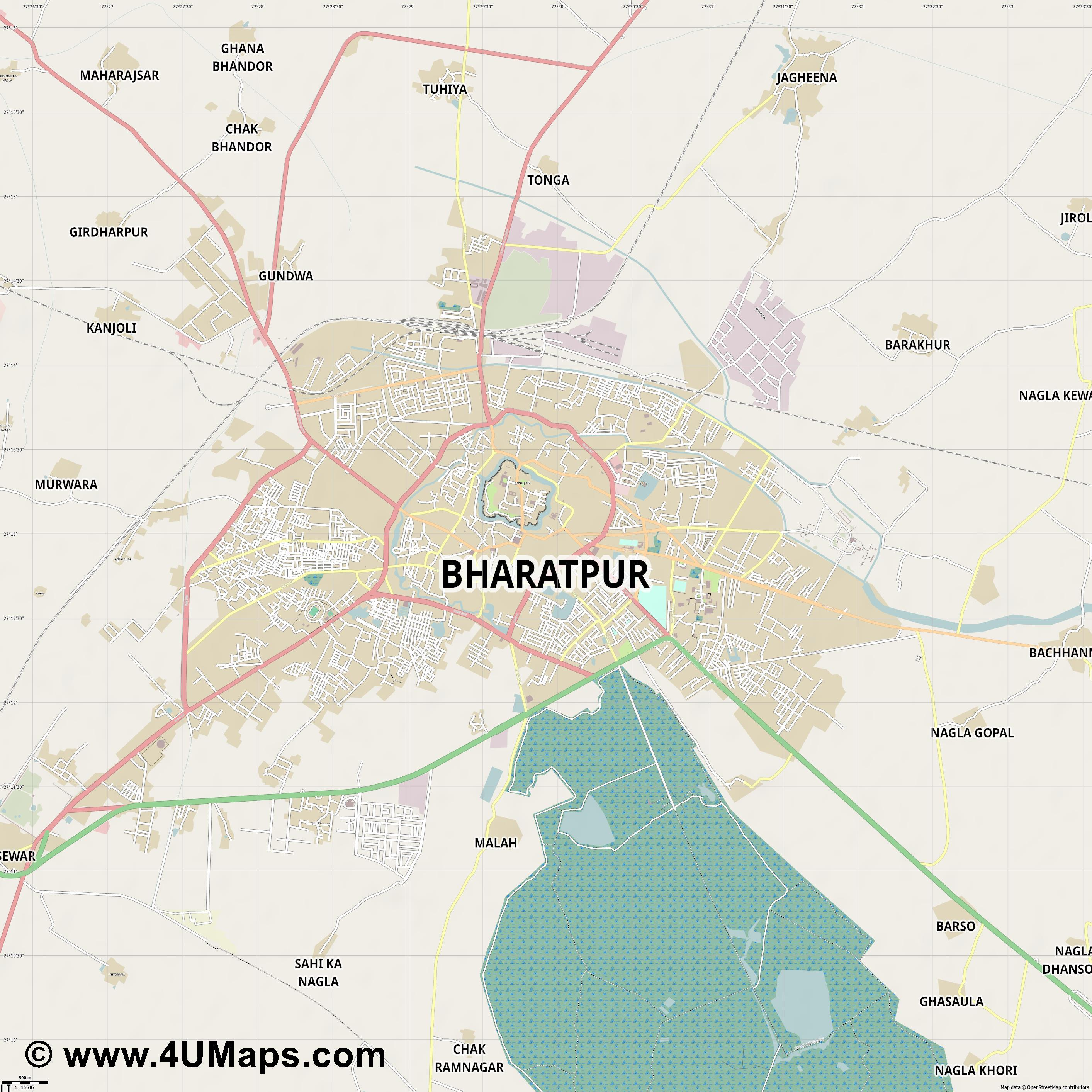Bharatpur  jpg ultra high detail preview vector city map
