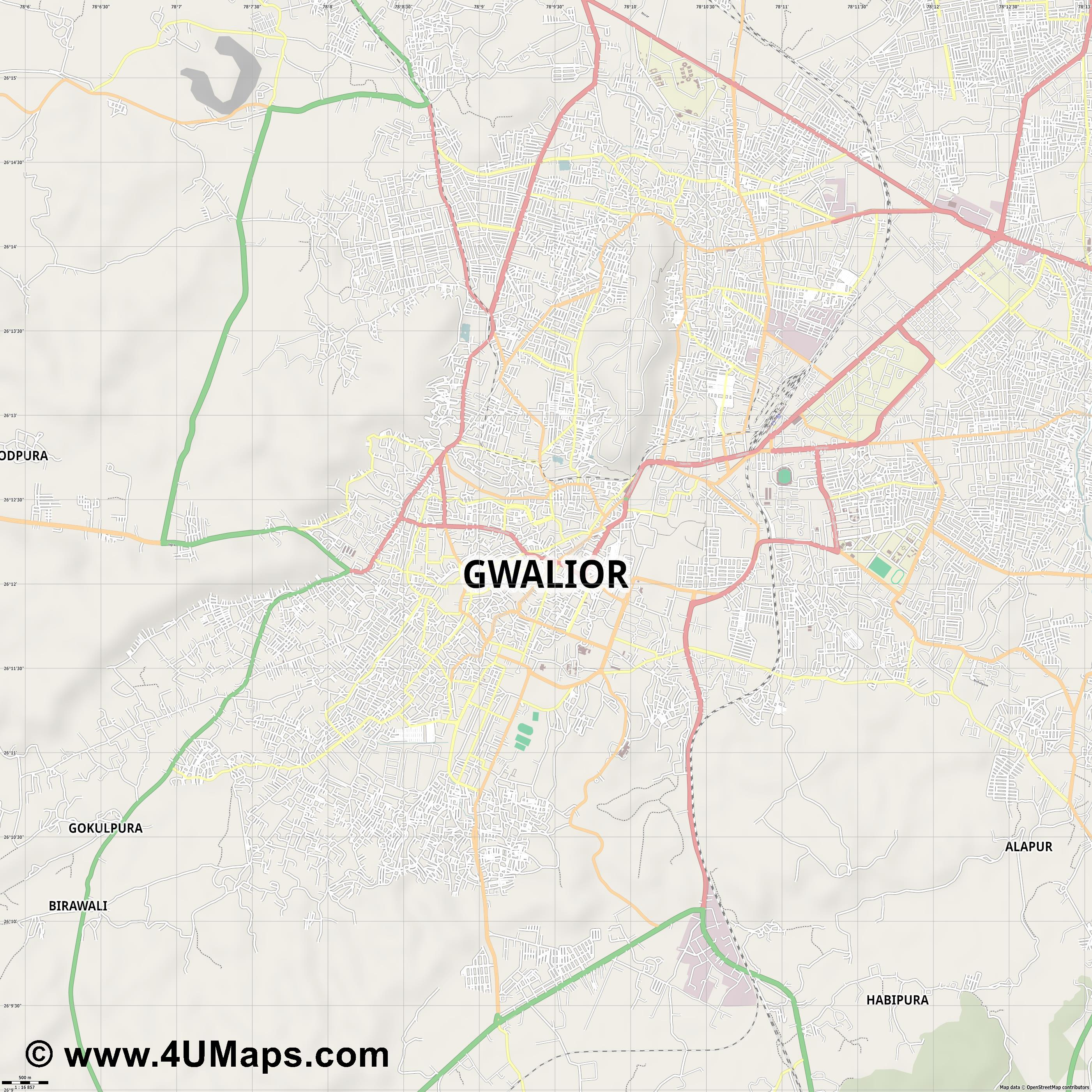 Gwalior  jpg ultra high detail preview vector city map