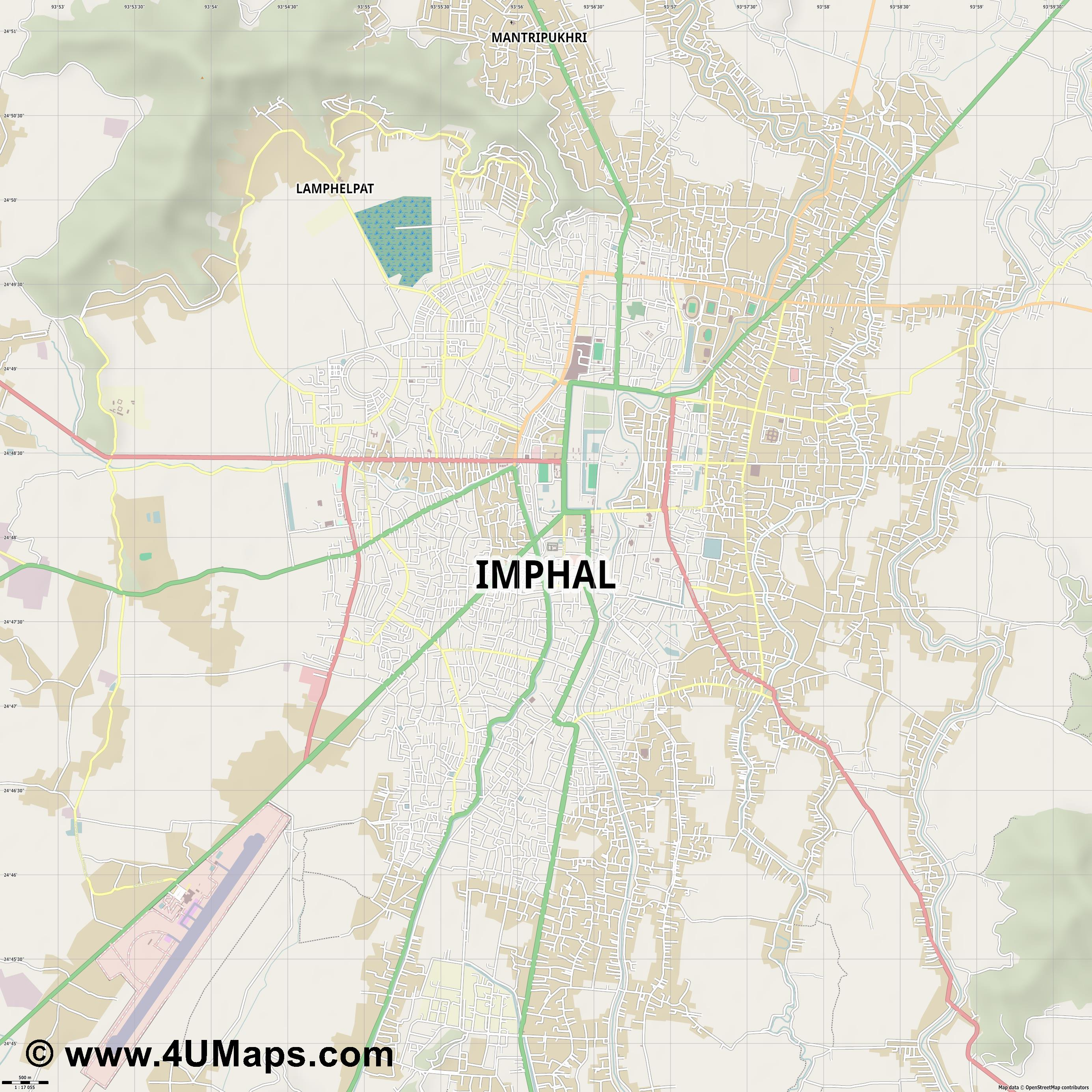 Imphal  jpg ultra high detail preview vector city map