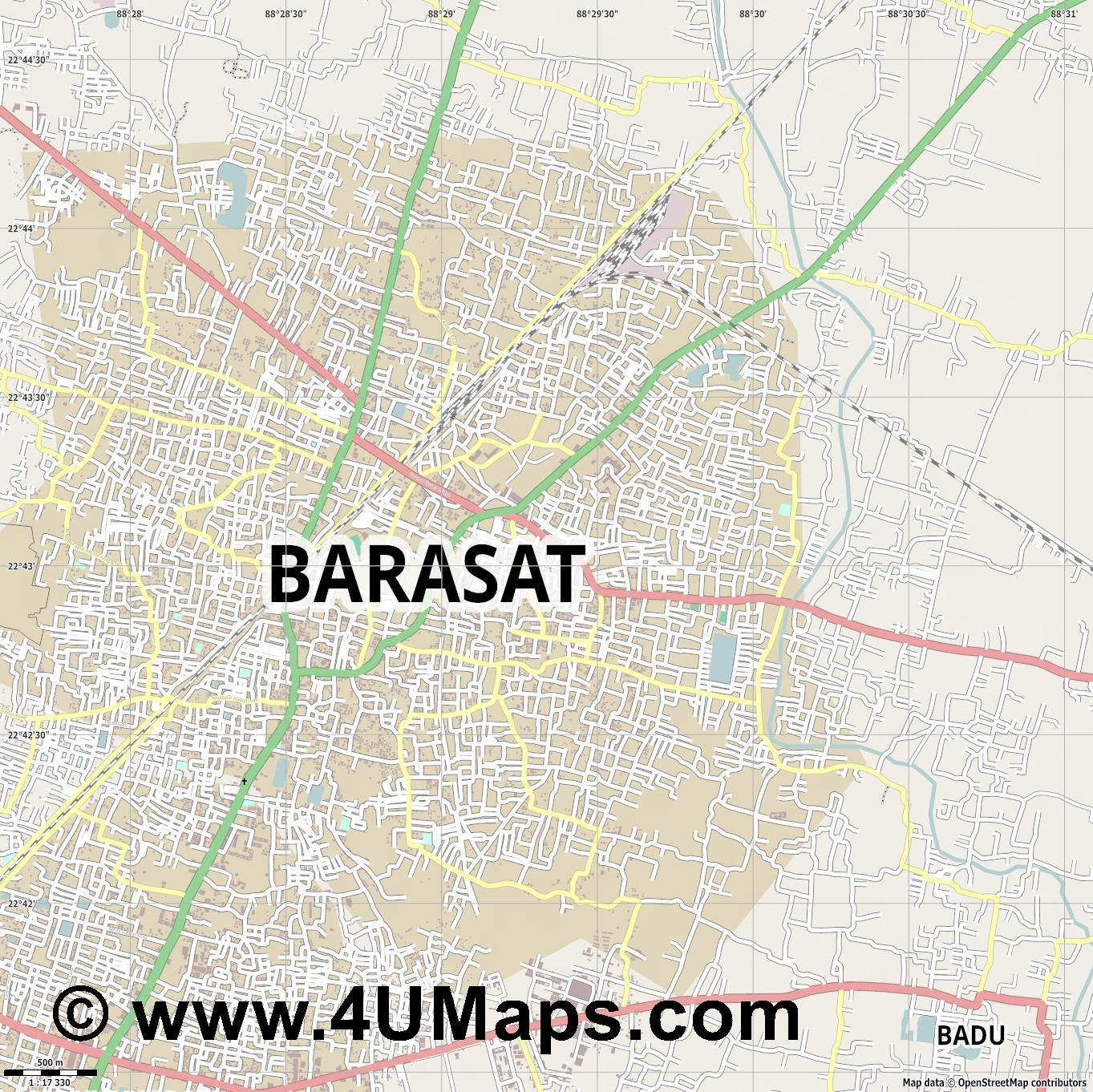 Barasat  jpg ultra high detail preview vector city map