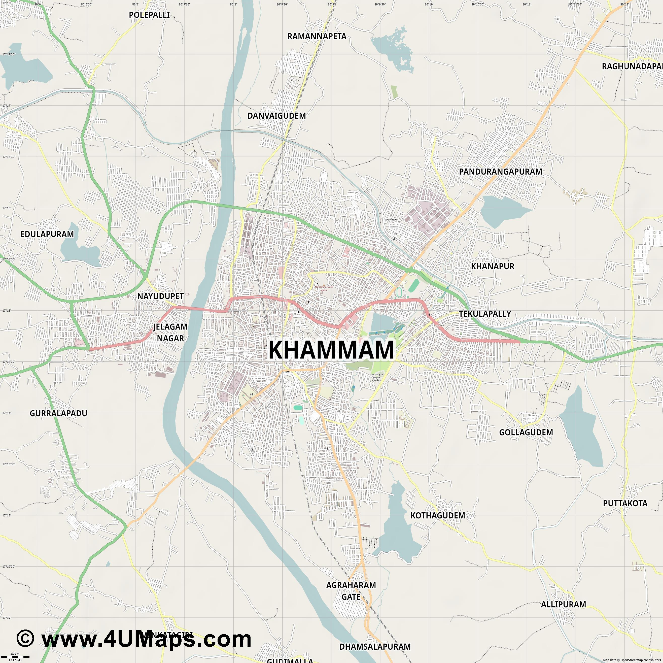 Khammam  jpg ultra high detail preview vector city map