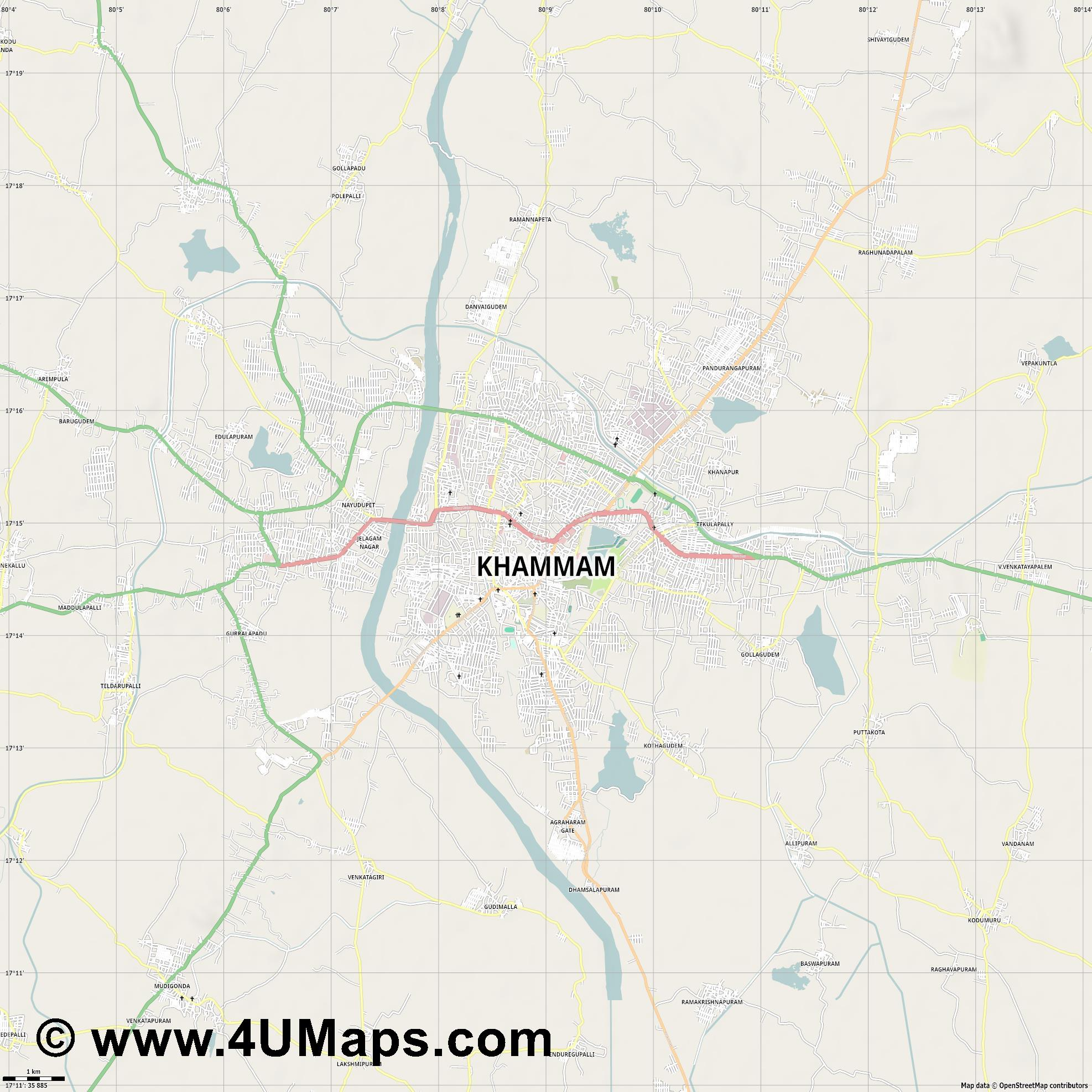 Khammam  jpg high detail, large area preview vector city map
