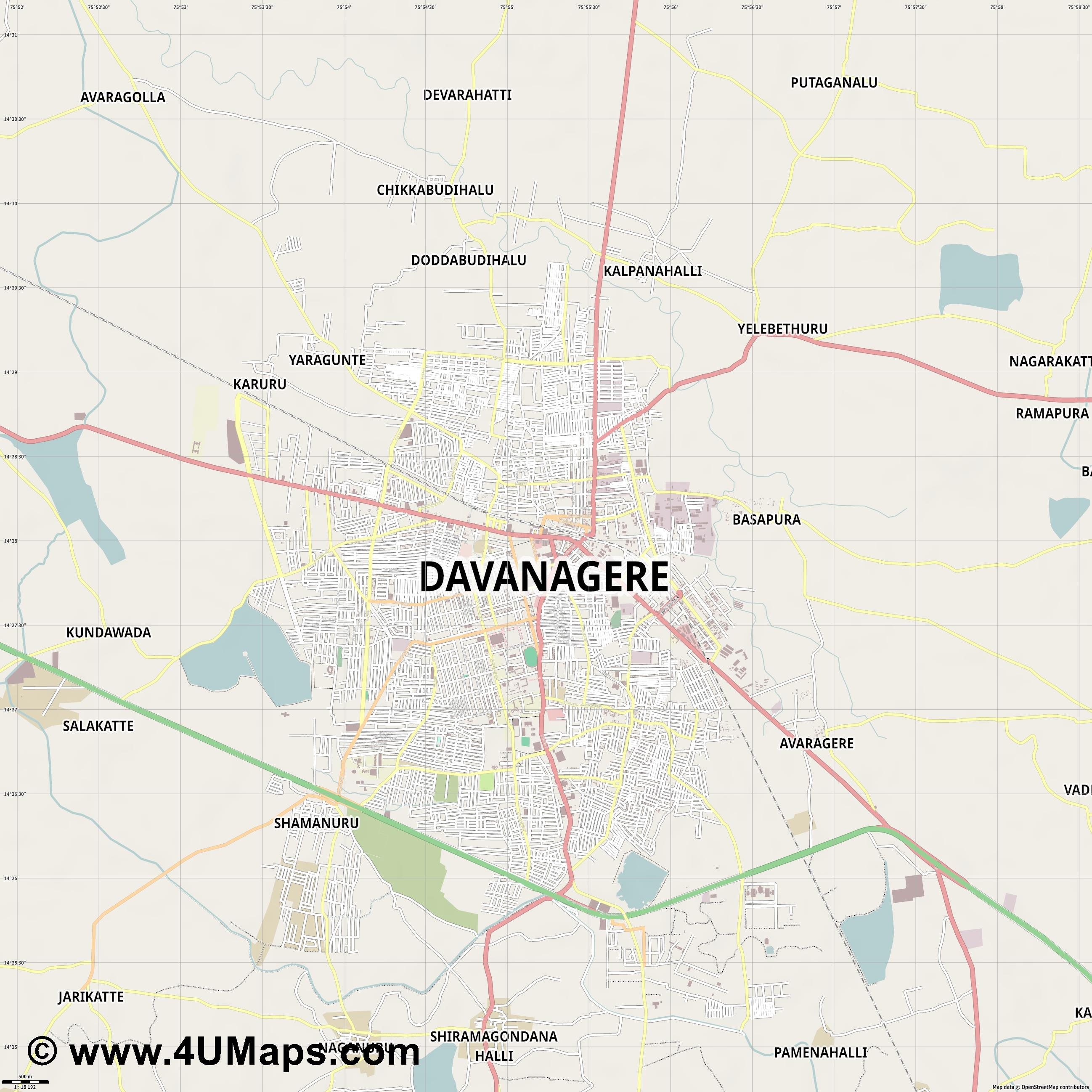 Davanagere  jpg ultra high detail preview vector city map
