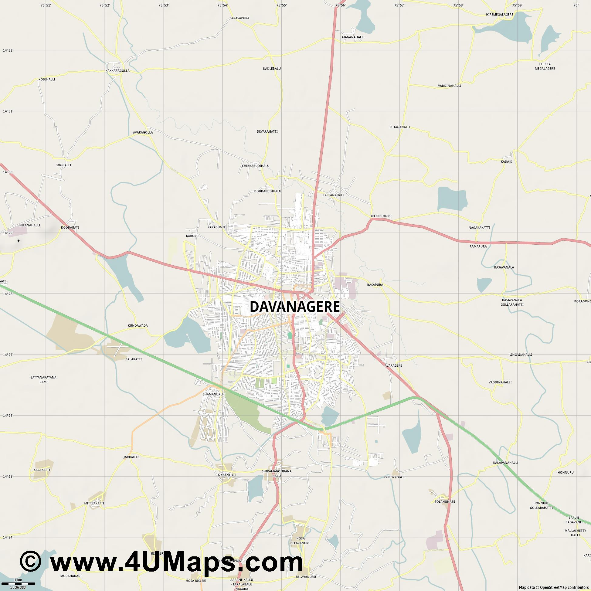 Davanagere  jpg high detail, large area preview vector city map