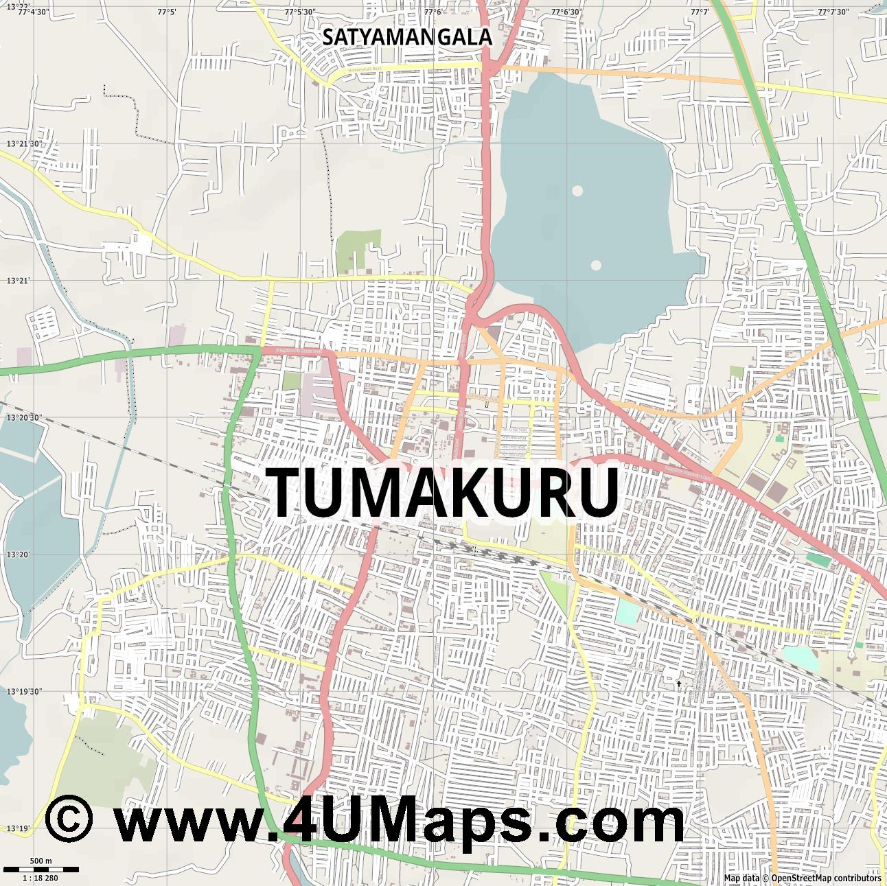 Tumkur Tumakuru  jpg ultra high detail preview vector city map