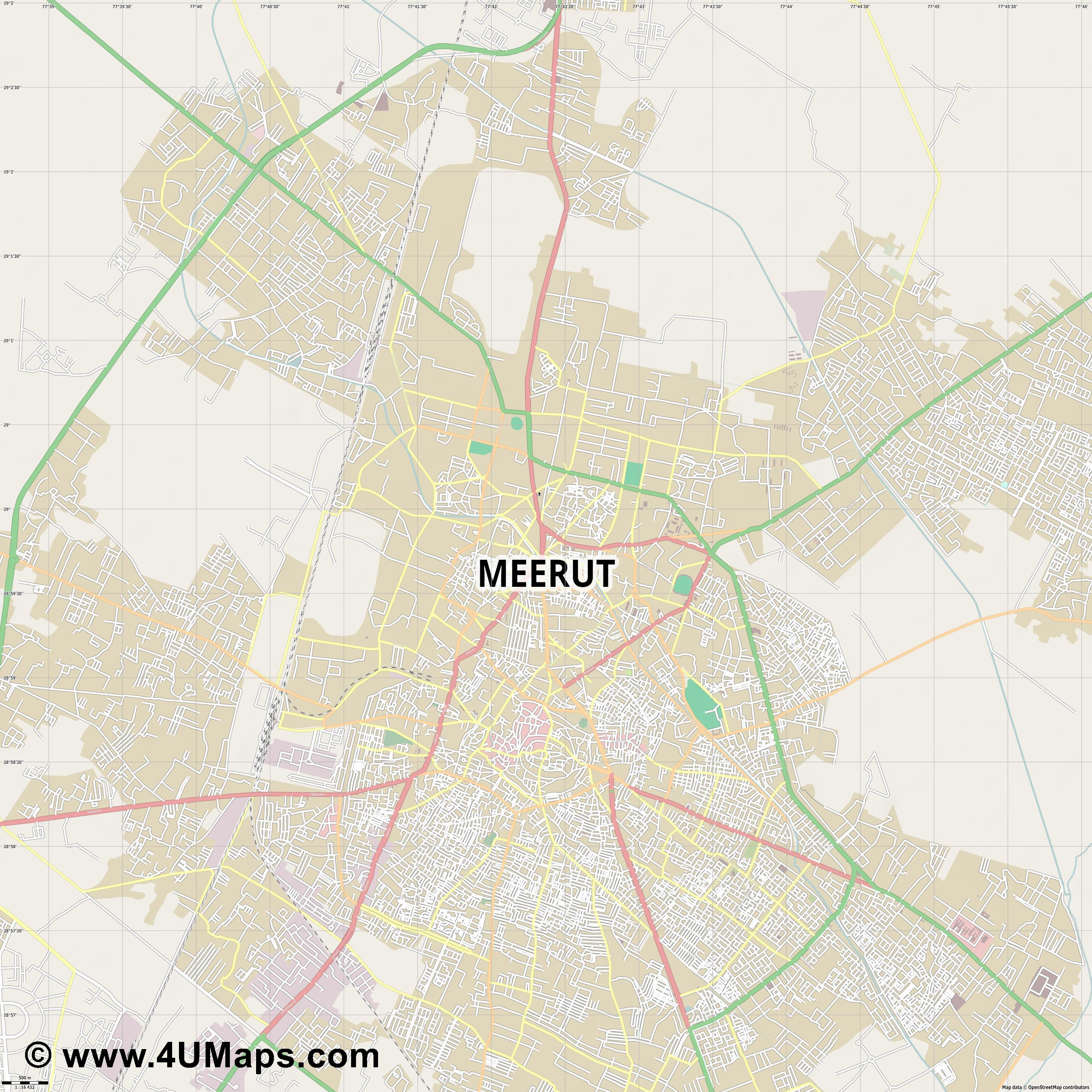 Meerut  jpg ultra high detail preview vector city map