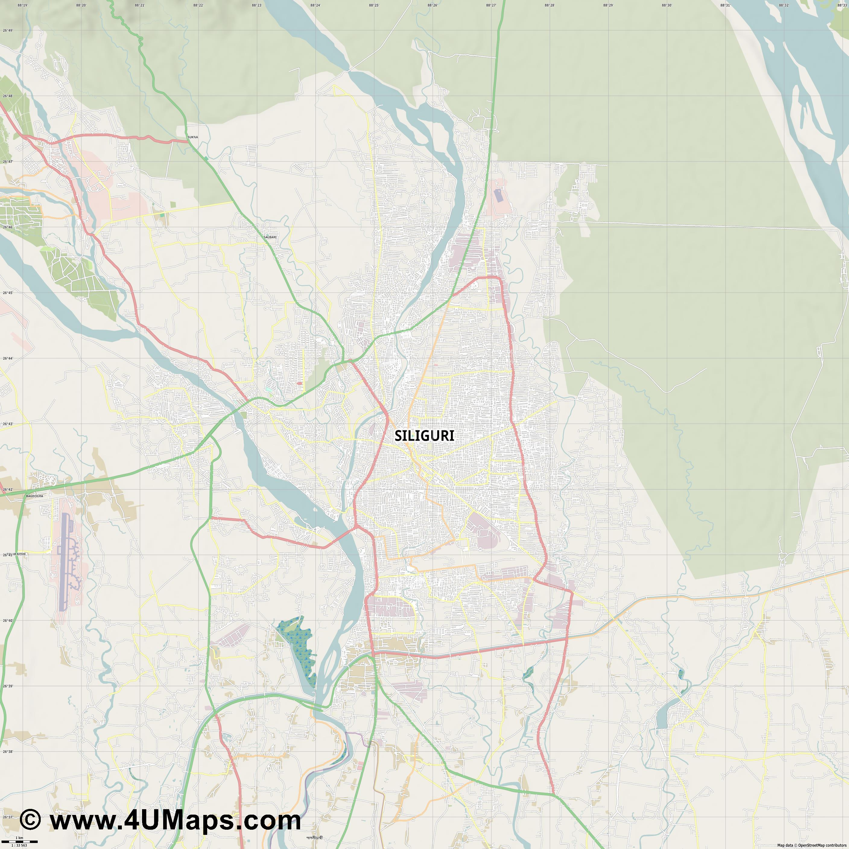 Siliguri  jpg high detail, large area preview vector city map
