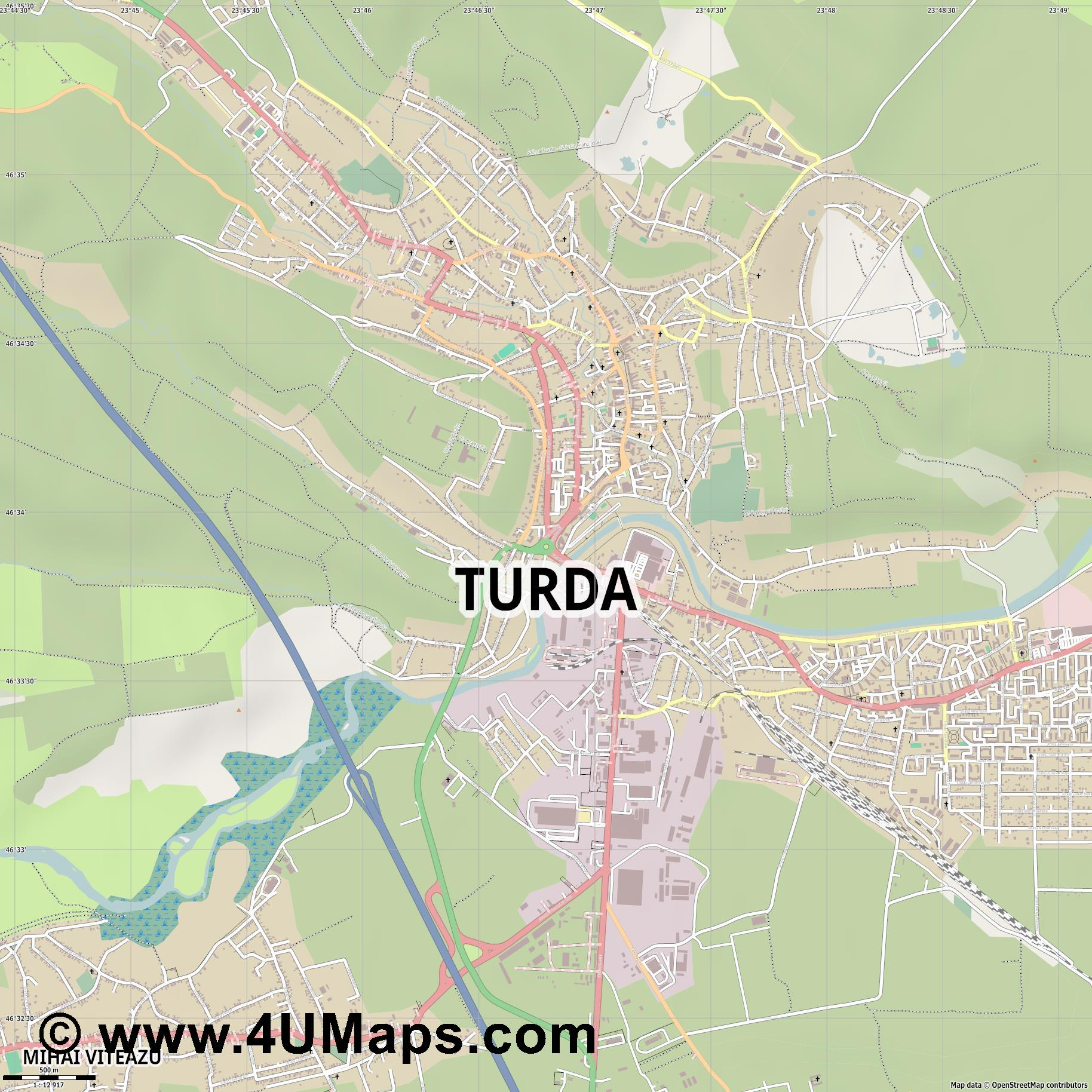 Turda Thorenburg  jpg ultra high detail preview vector city map