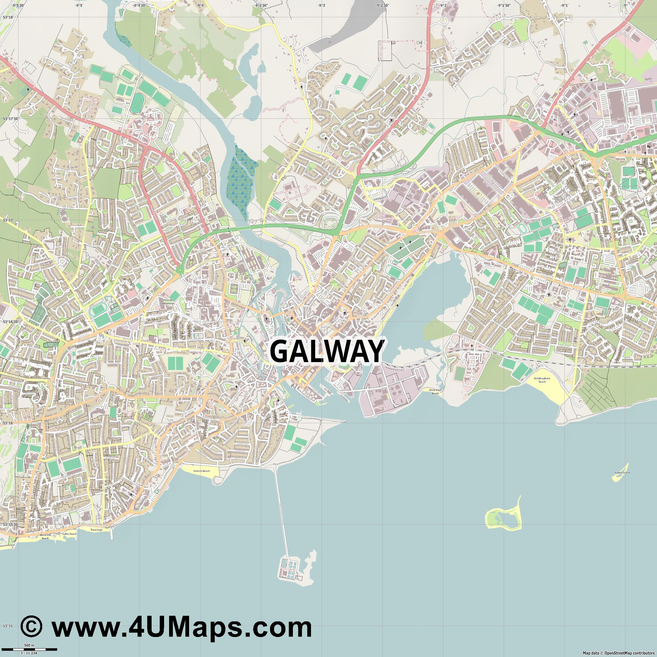 Galway  jpg ultra high detail preview vector city map