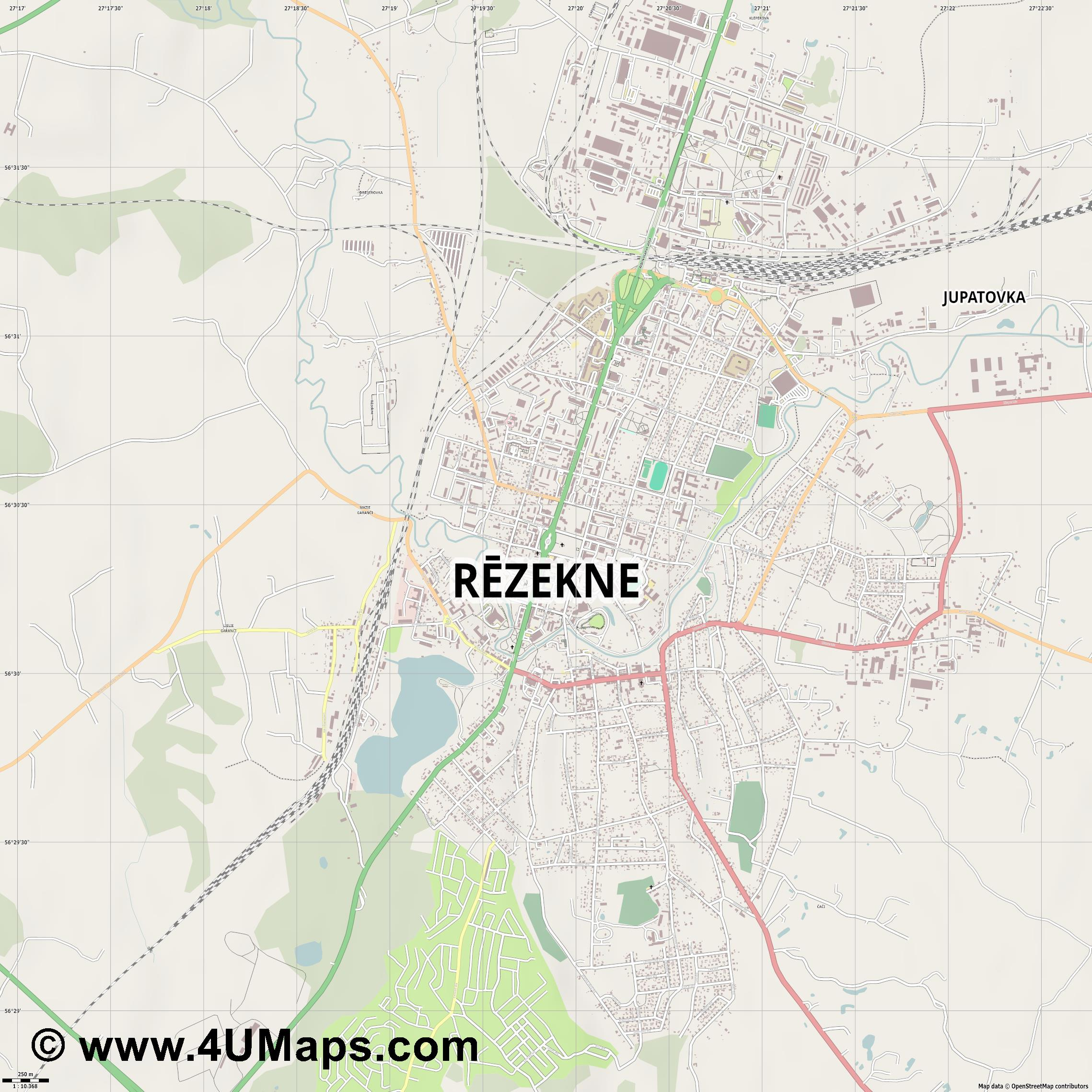 Rēzekne Rositten  jpg ultra high detail preview vector city map
