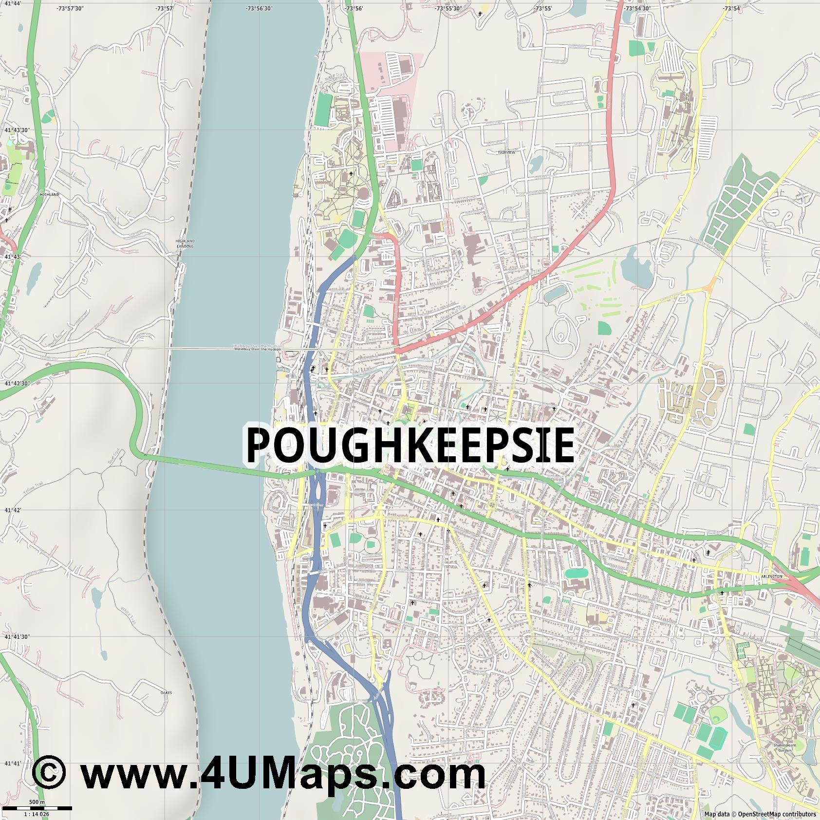 Poughkeepsie  jpg ultra high detail preview vector city map