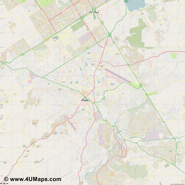 PDF Svg Scalable Vector City Map Rawalpindi