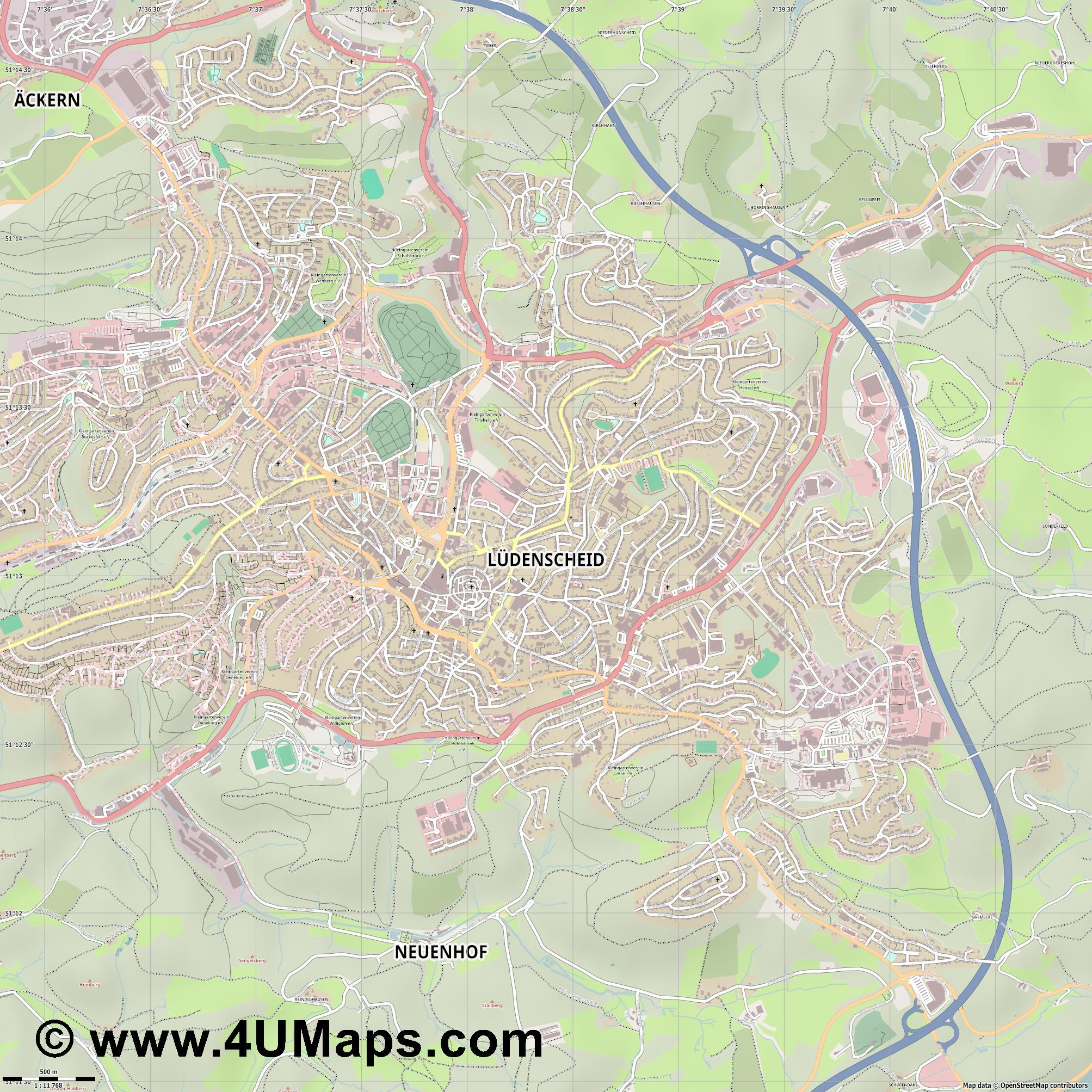 Lüdenscheid  jpg ultra high detail preview vector city map