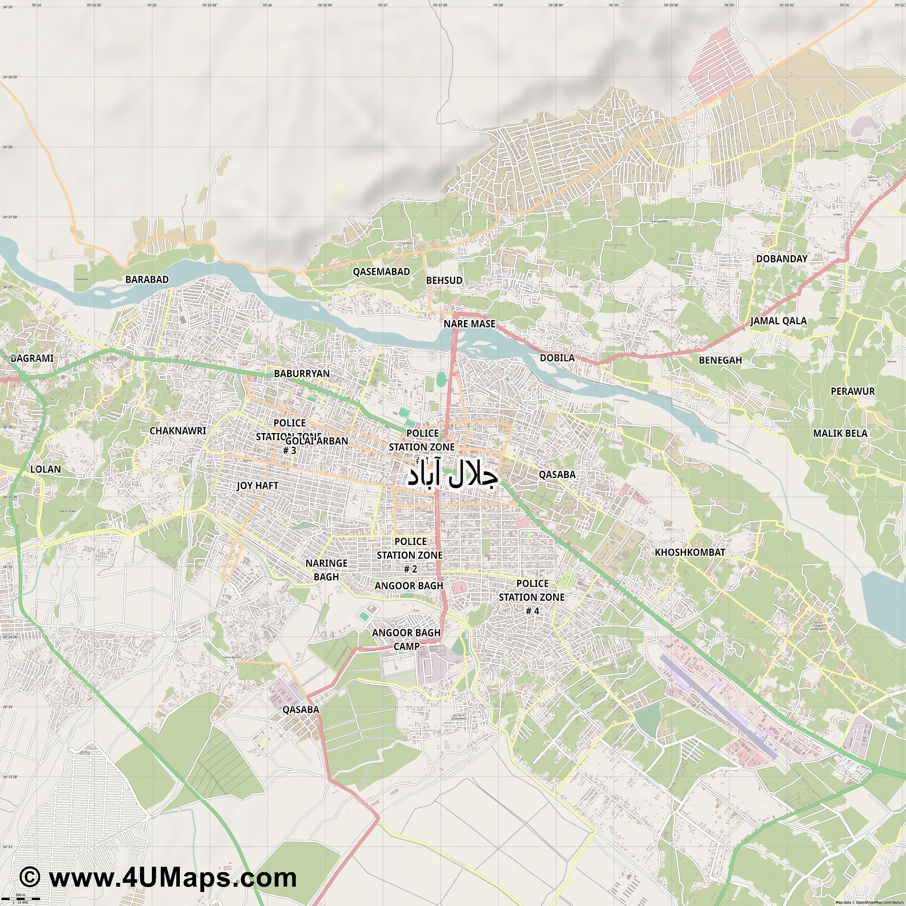 Jalalabad Dschalalabad  jpg ultra high detail preview vector city map
