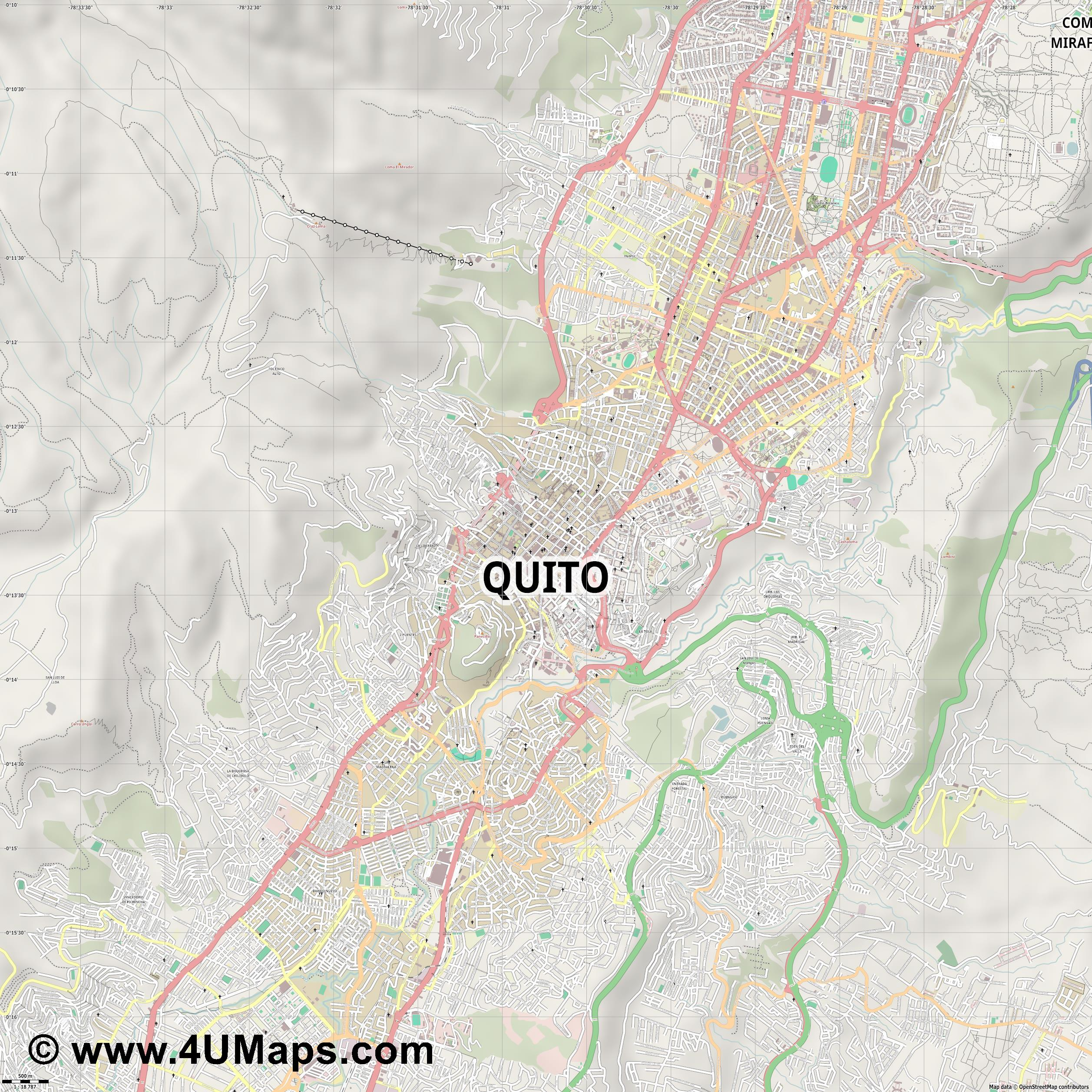 Quito  jpg ultra high detail preview vector city map