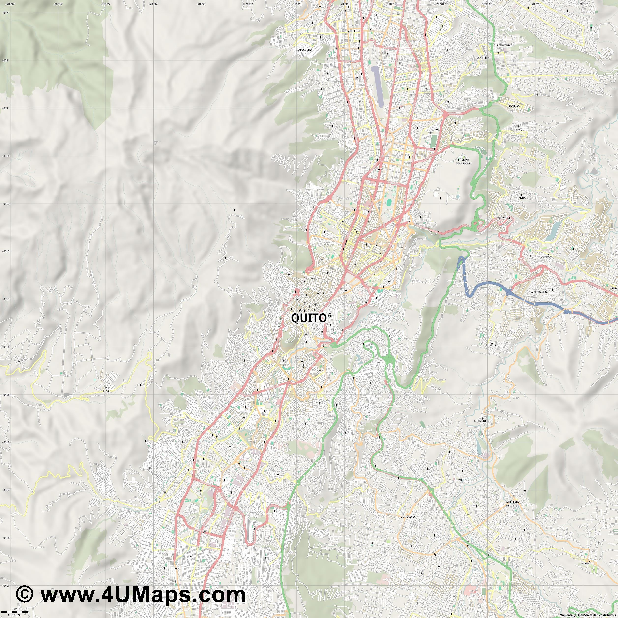 Quito  jpg high detail, large area preview vector city map