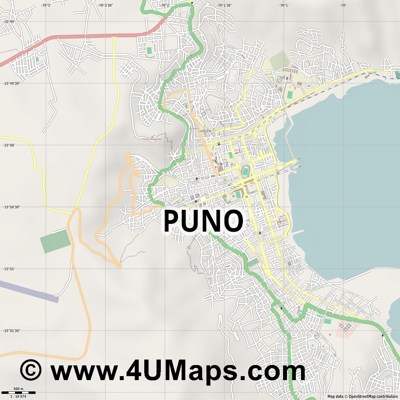 Puno  jpg ultra high detail preview vector city map