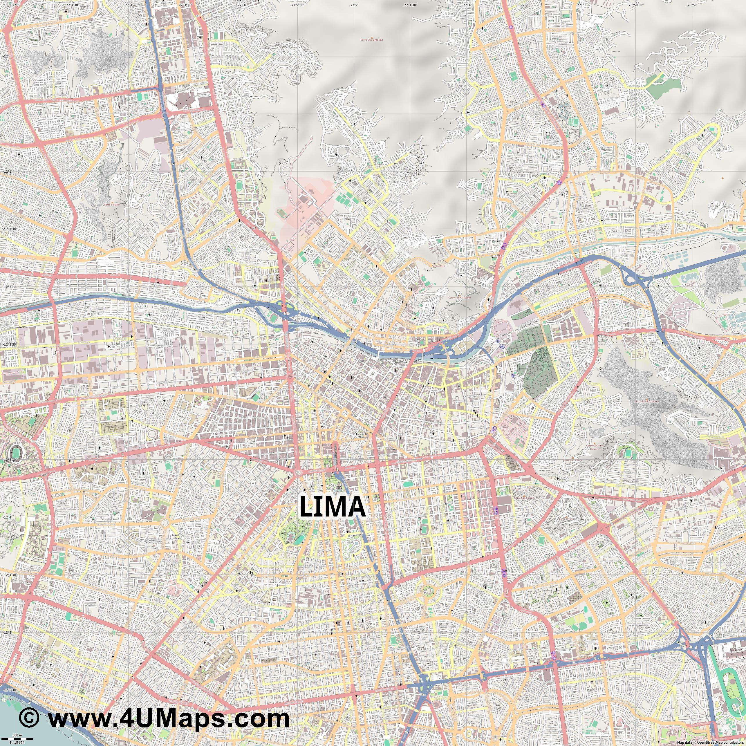 Lima  jpg ultra high detail preview vector city map