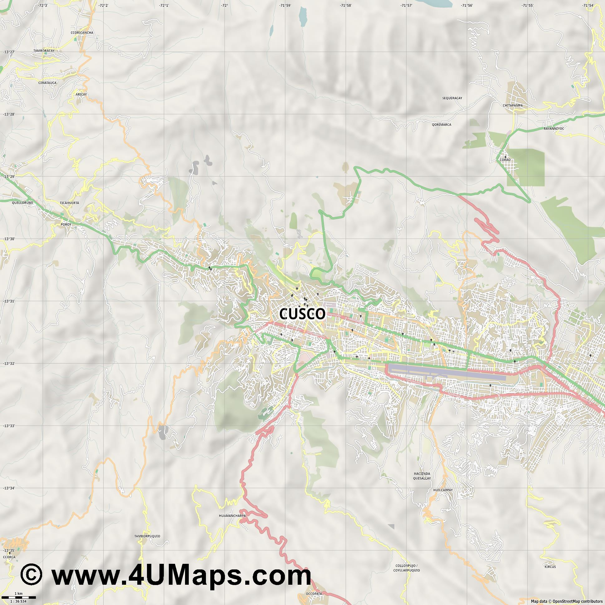 Cusco Cuzco  jpg high detail, large area preview vector city map